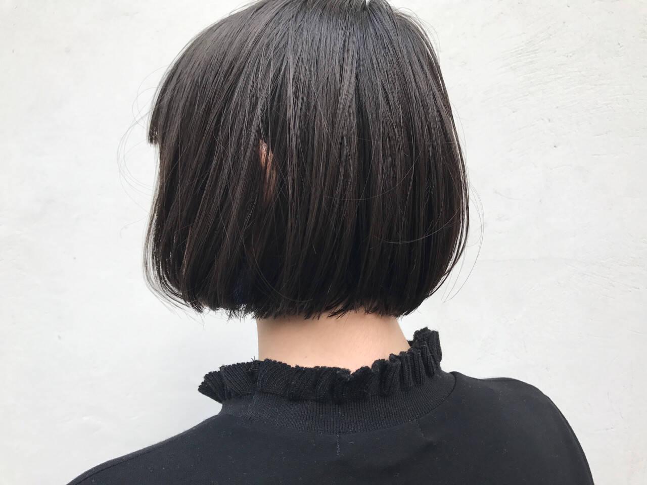 ボブ モード ショートバング ワンレングスヘアスタイルや髪型の写真・画像