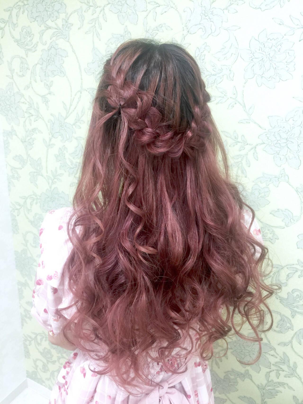 ゆるふわ ハーフアップ ロング ヘアアレンジヘアスタイルや髪型の写真・画像