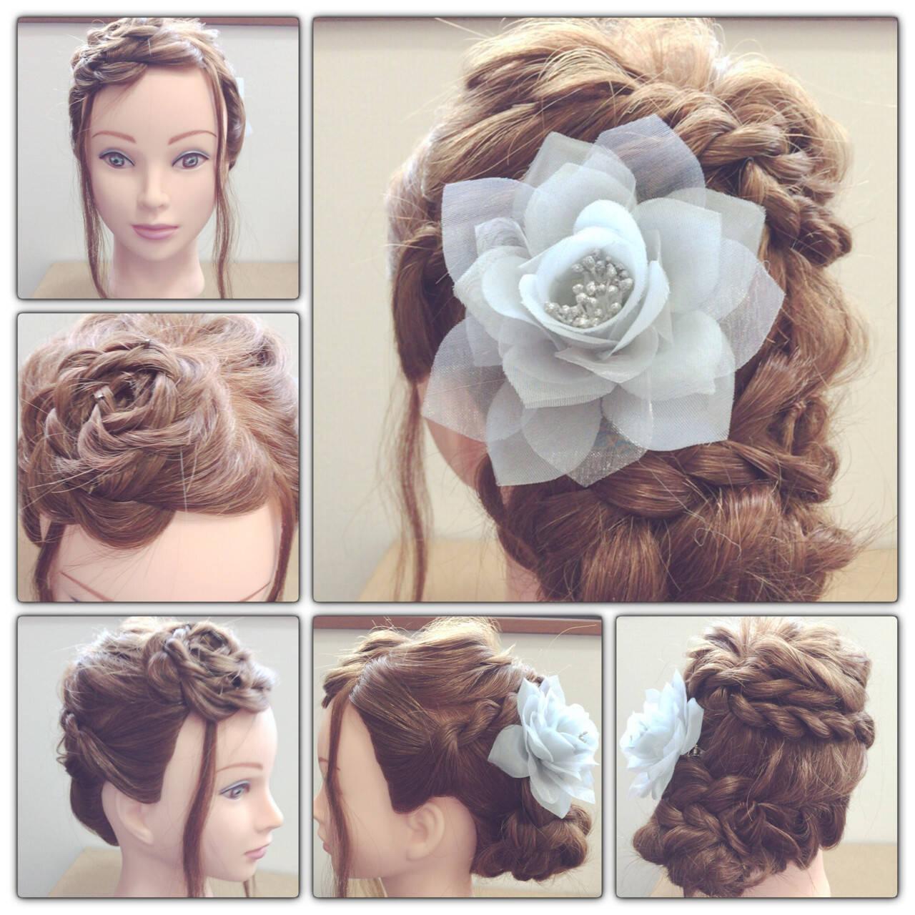 ロング 波ウェーブ 大人かわいい ねじりヘアスタイルや髪型の写真・画像