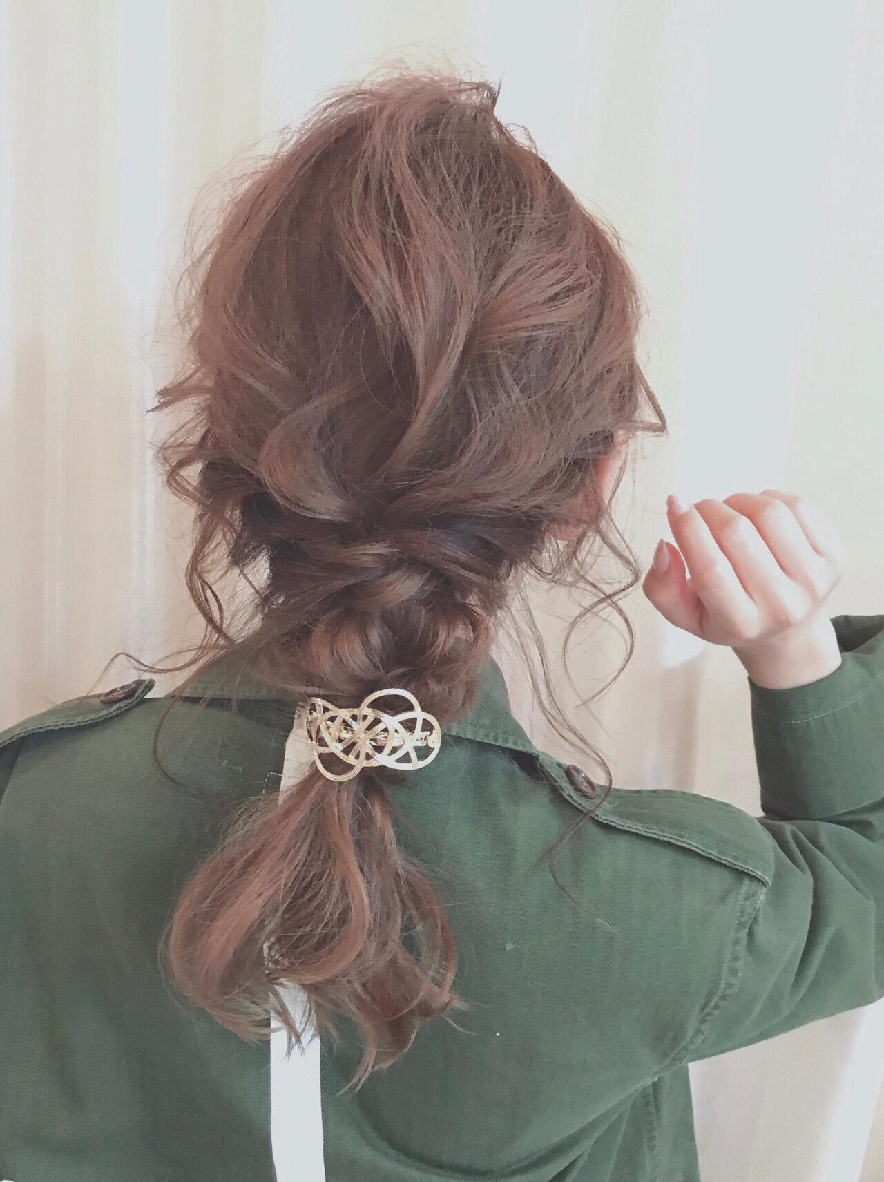 簡単ヘアアレンジ ヘアアレンジ 編みおろし ミディアムヘアスタイルや髪型の写真・画像