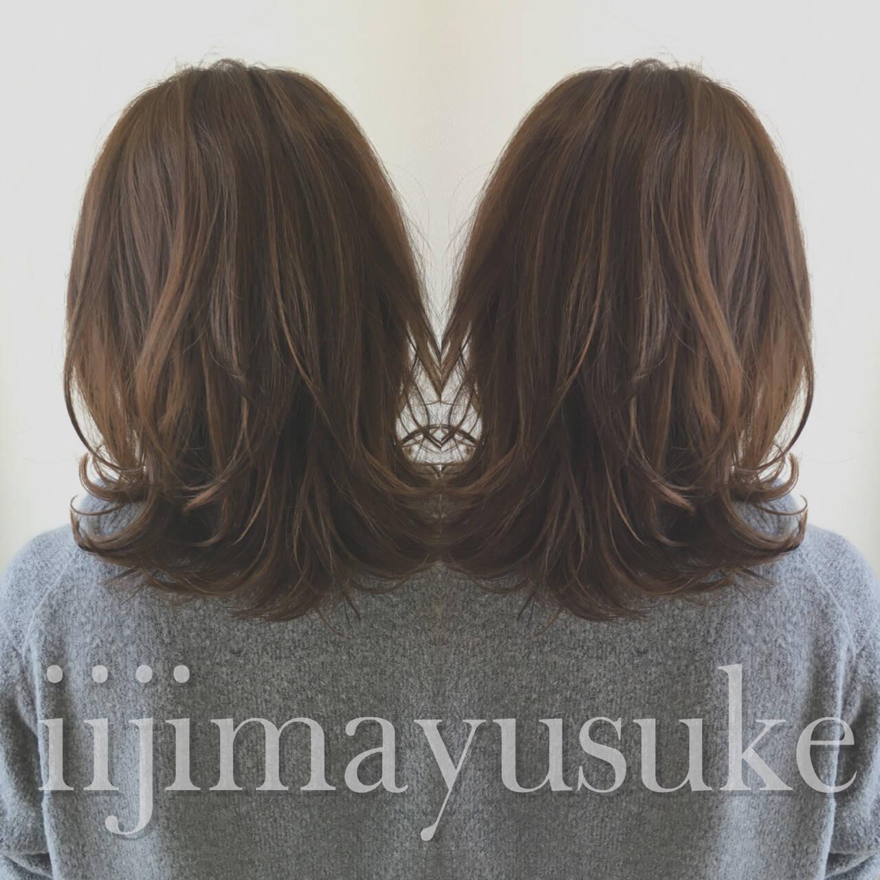 暗髪 アッシュ ミディアム ハイライトヘアスタイルや髪型の写真・画像