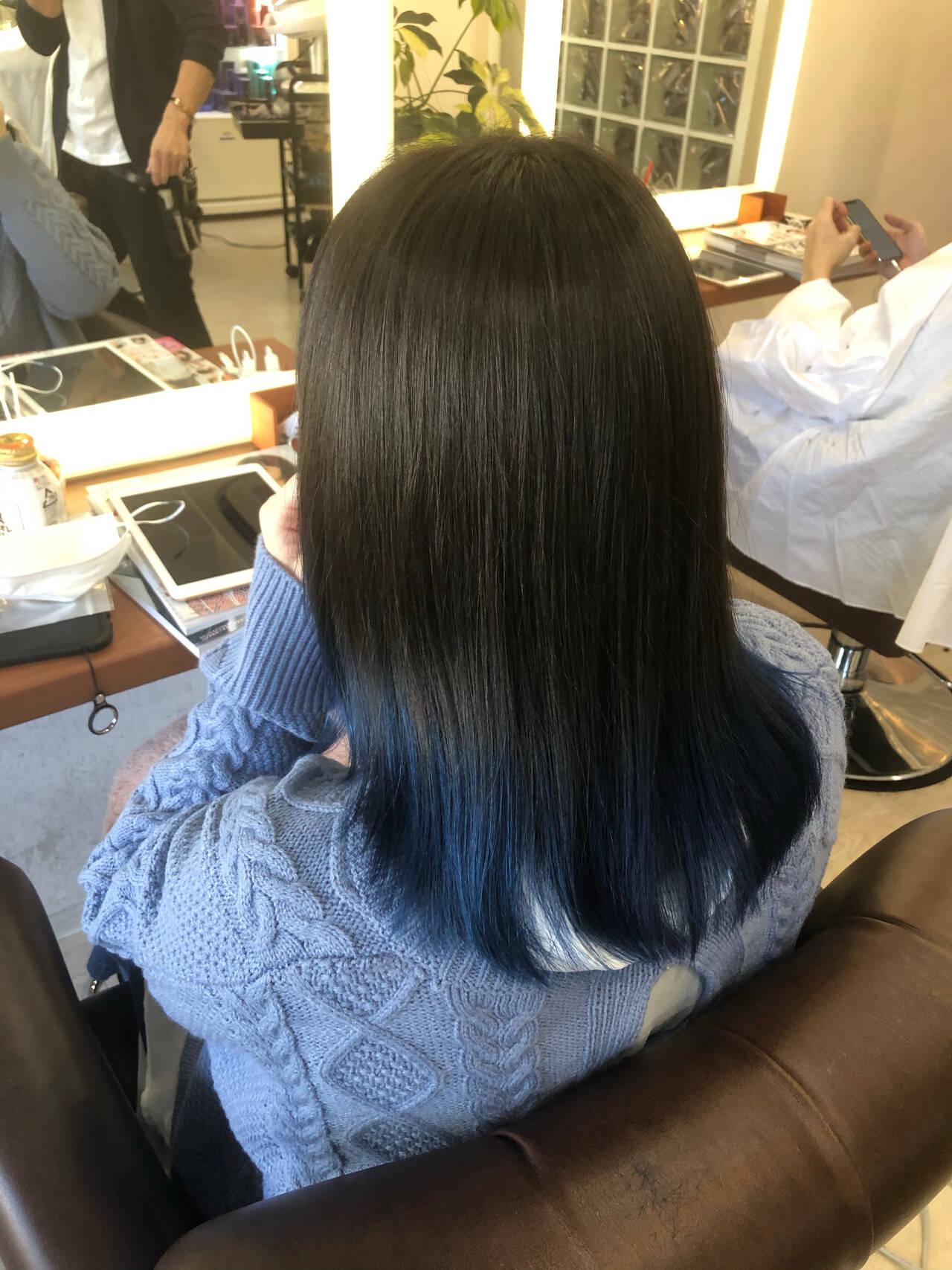 モード 裾カラー 最新トリートメント ネイビーブルーヘアスタイルや髪型の写真・画像