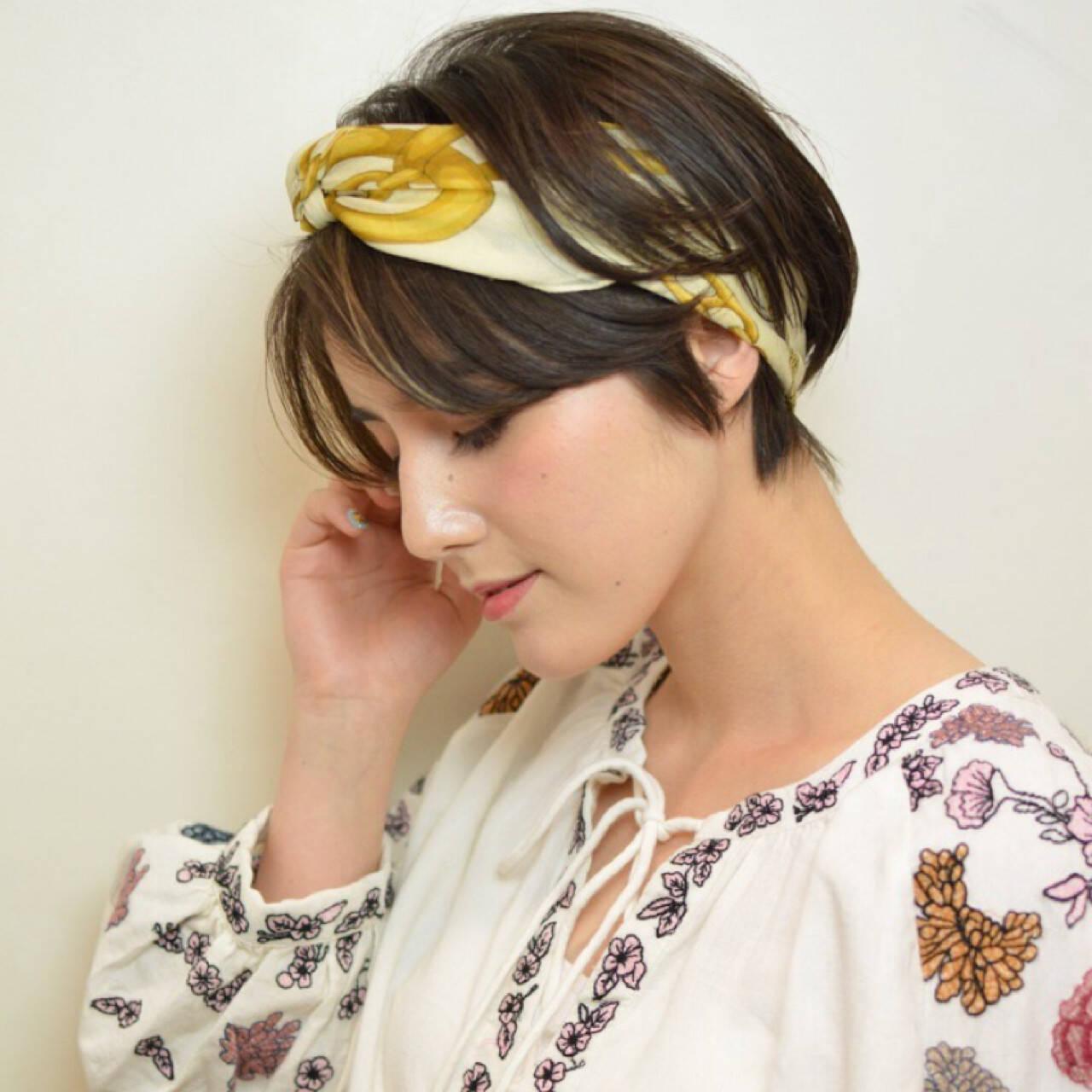 ヘアアレンジ ショート ヘアアクセ 簡単ヘアアレンジヘアスタイルや髪型の写真・画像