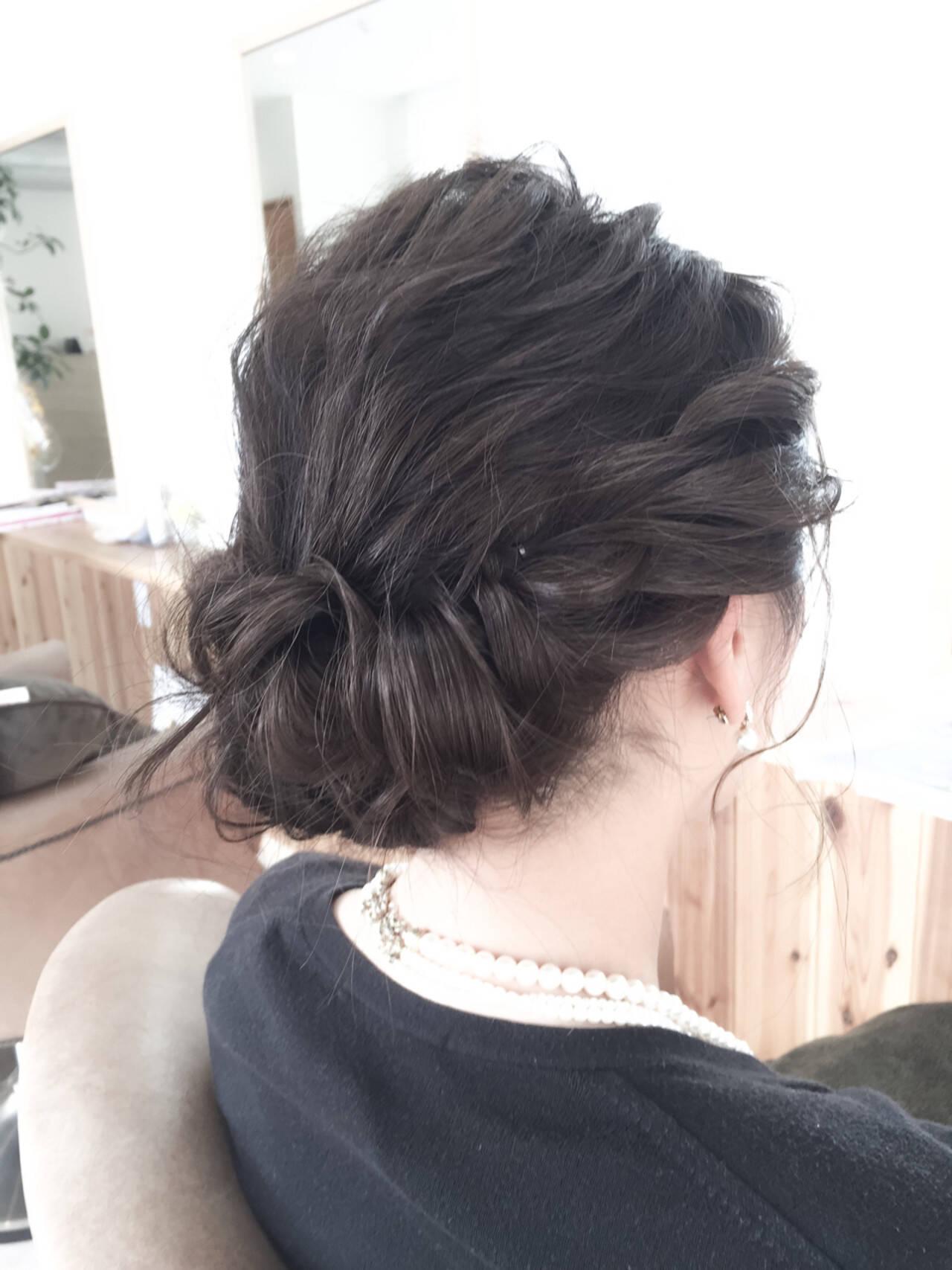 ミディアム 編み込み パーティ ヘアアレンジヘアスタイルや髪型の写真・画像