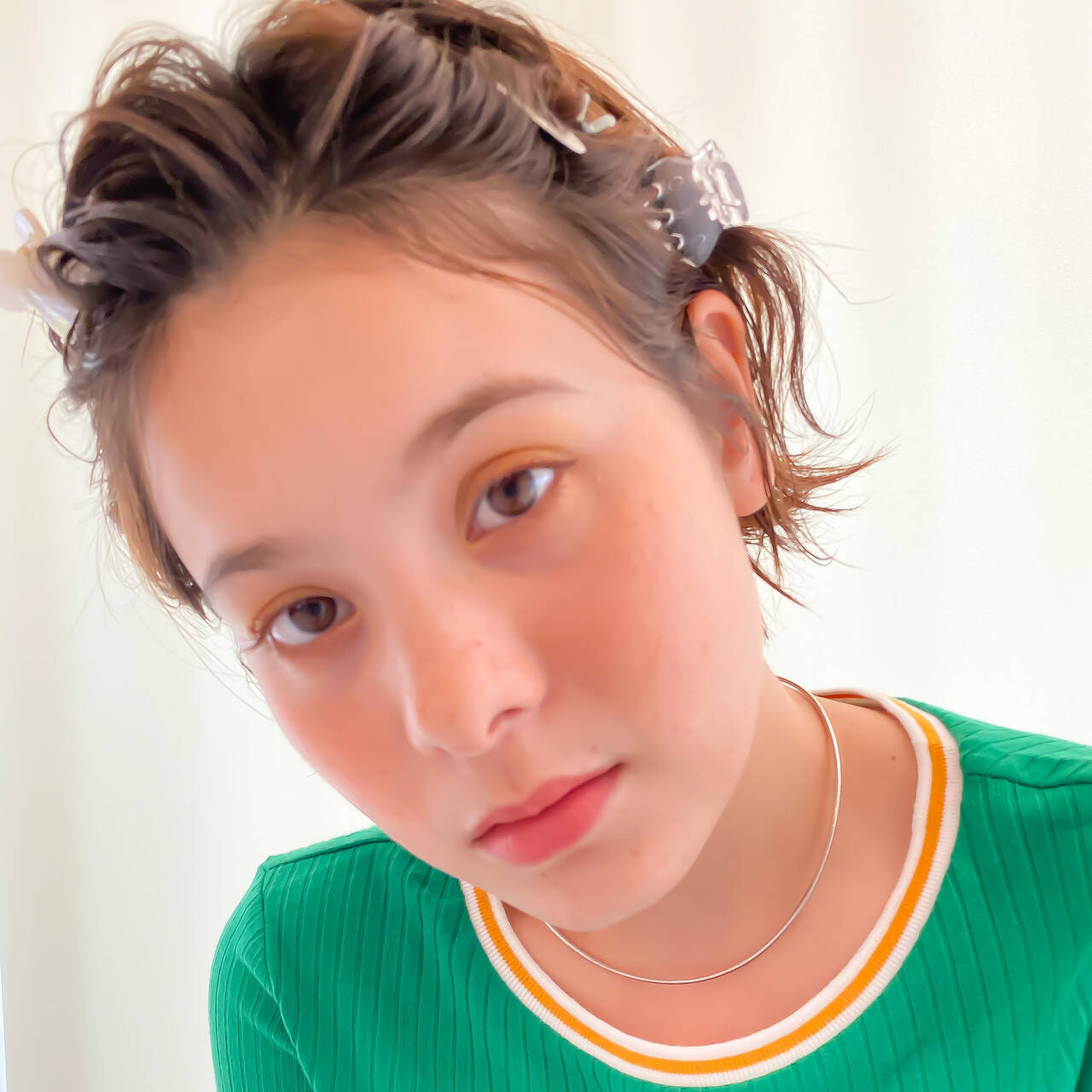 透明感 ヘアピン ウェットヘア 簡単ヘアアレンジヘアスタイルや髪型の写真・画像