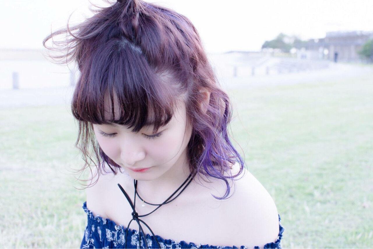 パープル ラベンダーアッシュ ダブルカラー ストリートヘアスタイルや髪型の写真・画像
