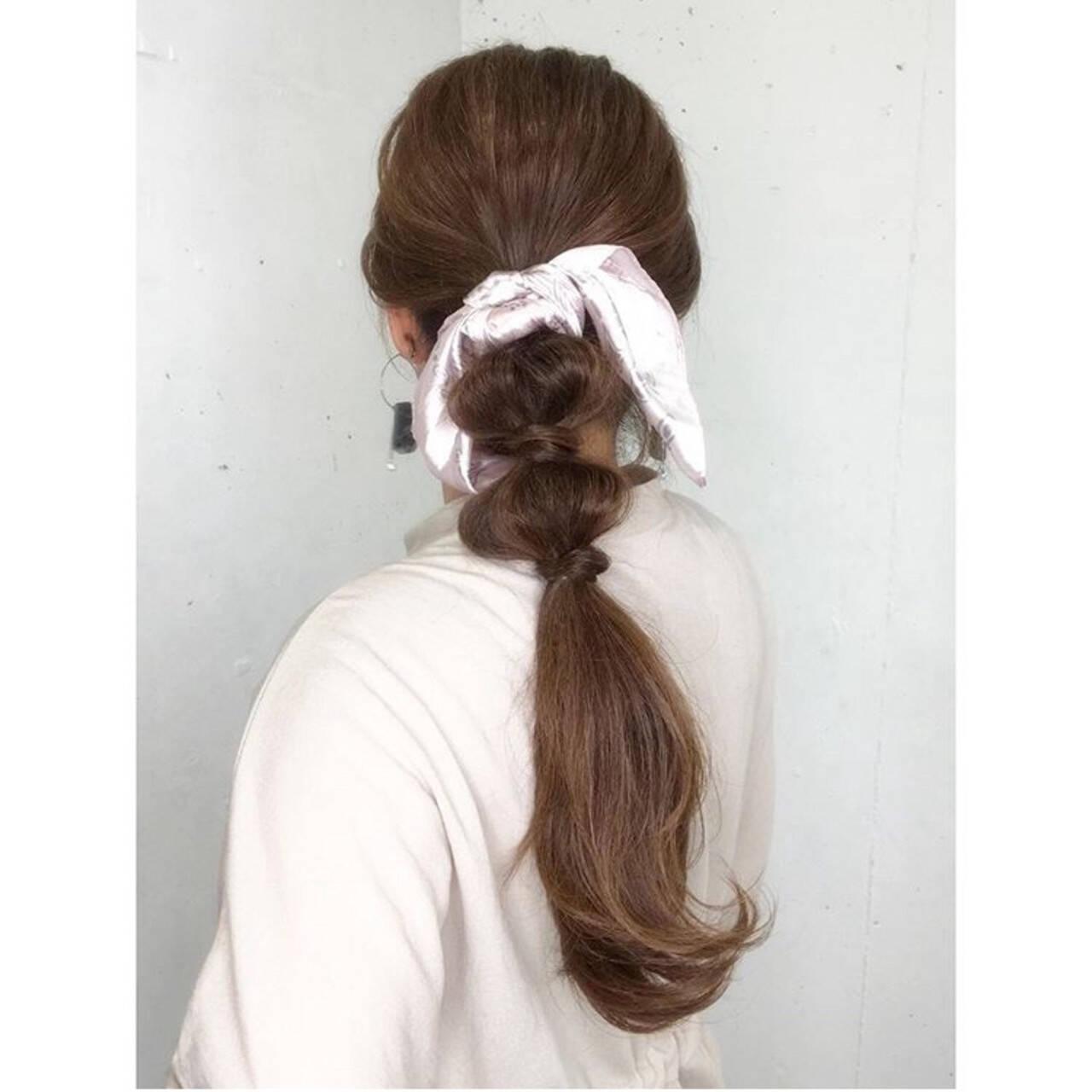可愛い 簡単ヘアアレンジ ロング スカーフアレンジヘアスタイルや髪型の写真・画像
