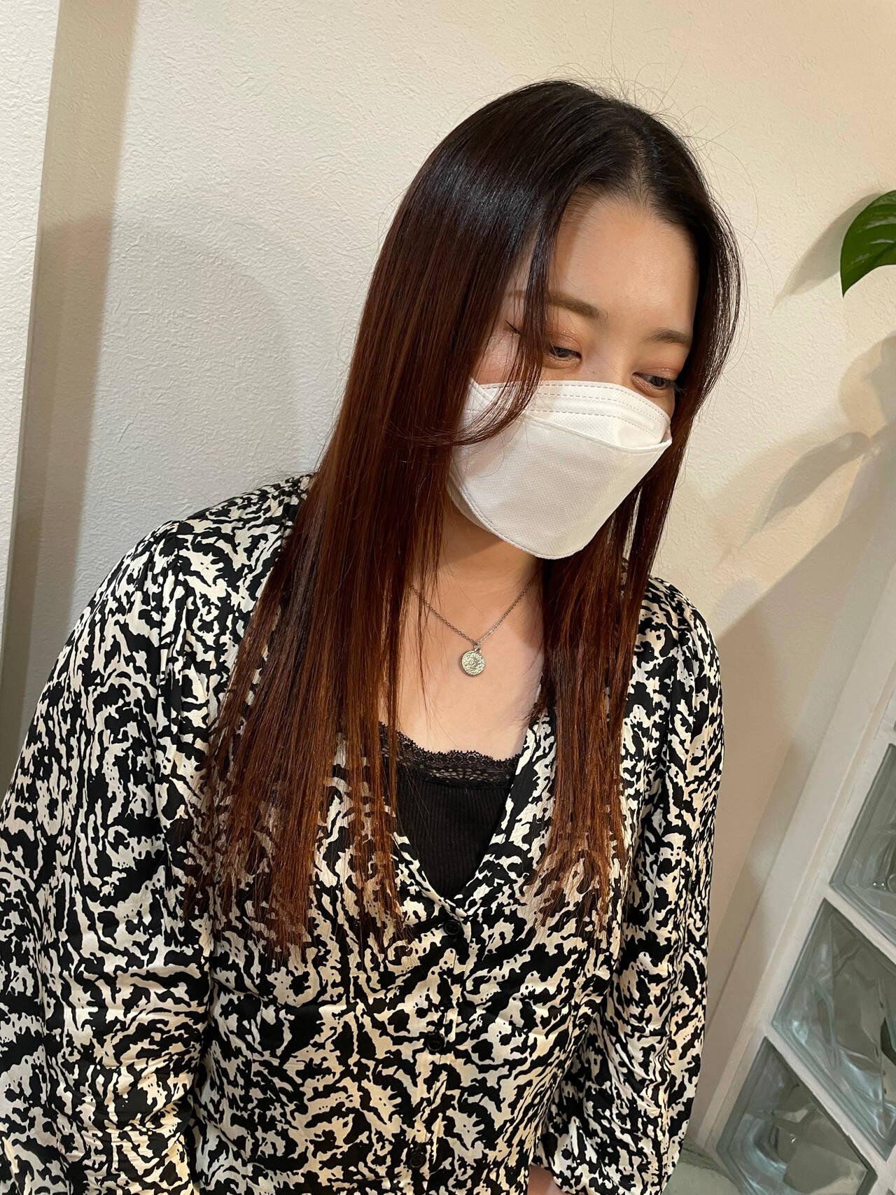 ヨシンモリ ロング 韓国ヘア オレンジカラーヘアスタイルや髪型の写真・画像