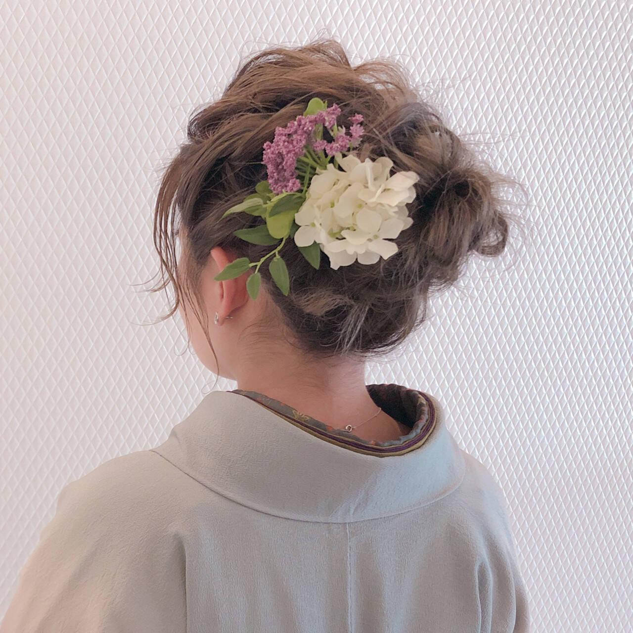 ヘアセット ナチュラル ミディアム 成人式ヘアヘアスタイルや髪型の写真・画像