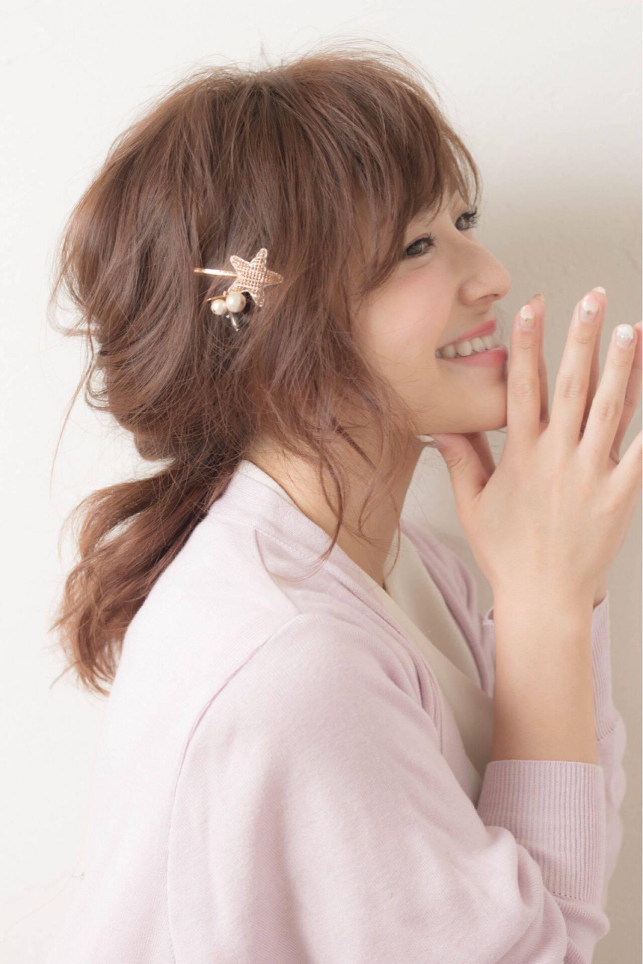 シースルーバング ガーリー セミロング 外国人風ヘアスタイルや髪型の写真・画像