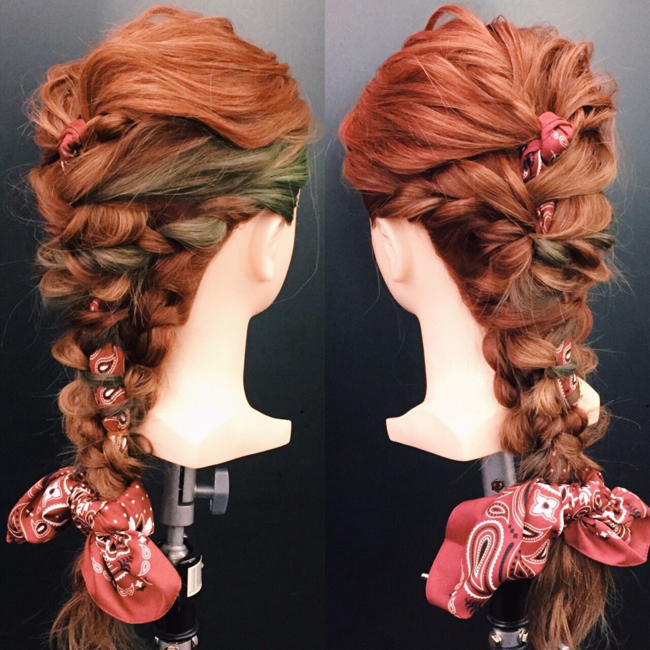 編み込み デート 波ウェーブ ヘアアレンジヘアスタイルや髪型の写真・画像