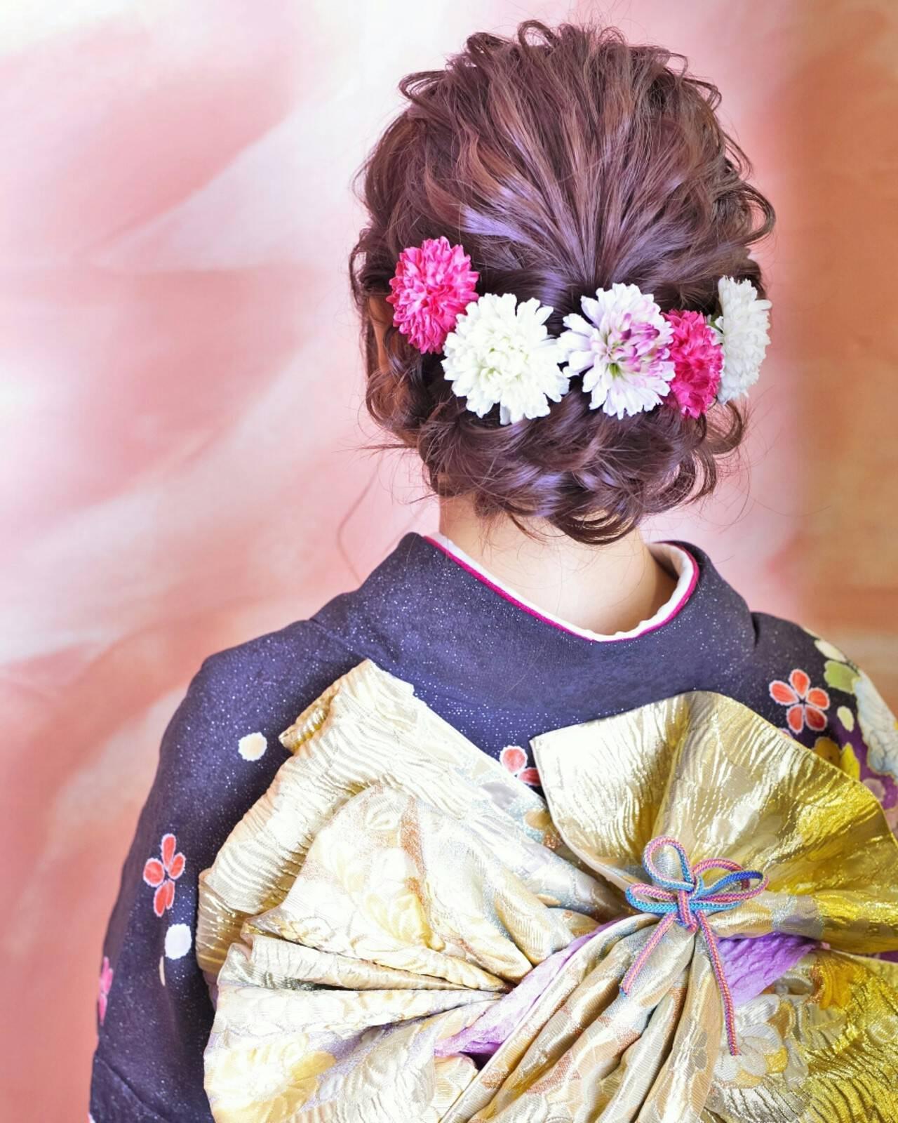 ヘアアレンジ ボブ 成人式 編み込みヘアスタイルや髪型の写真・画像