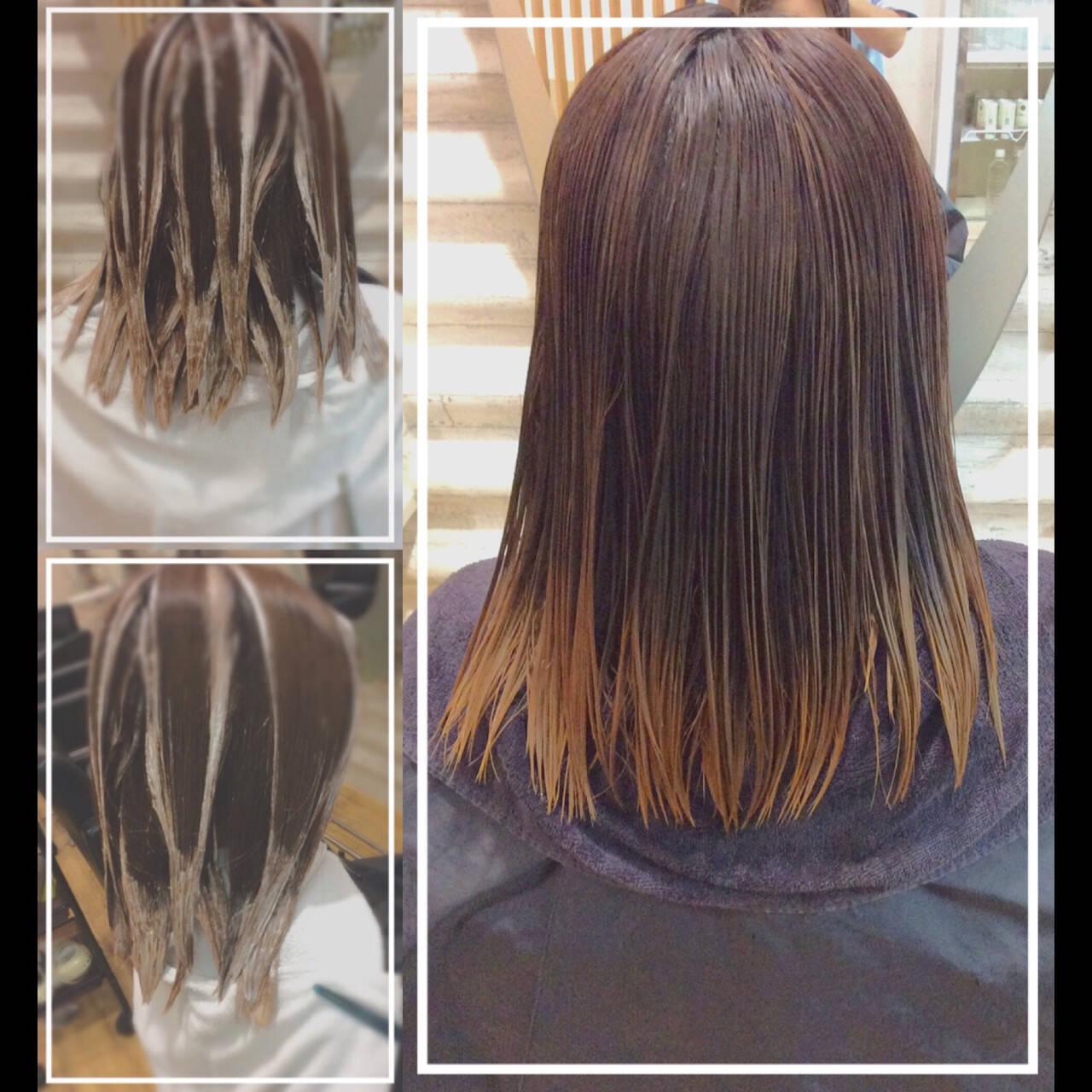 髪質改善カラー バレイヤージュ ハイトーンカラー ハイトーンヘアスタイルや髪型の写真・画像