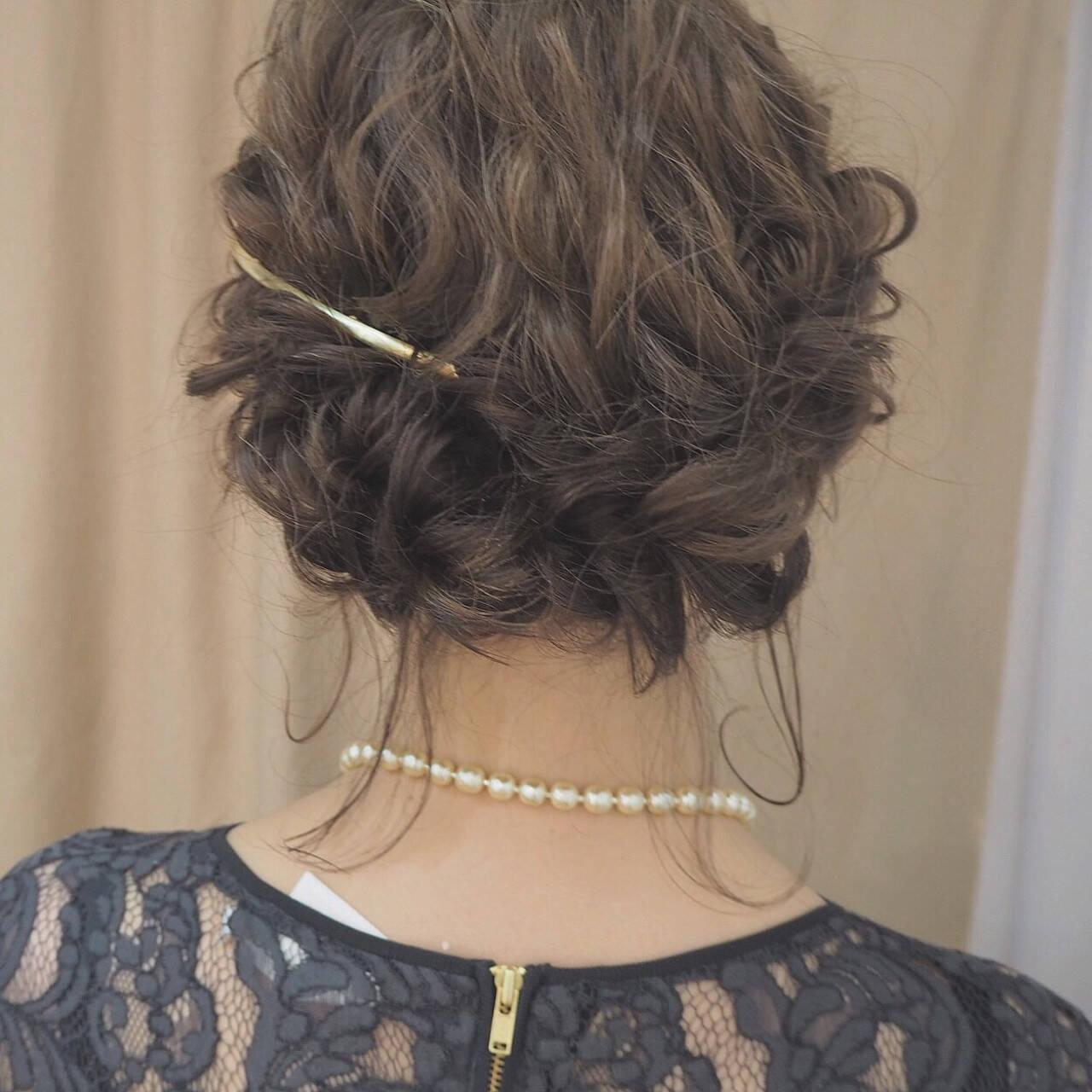 編み込み ショート ヘアアレンジ 結婚式ヘアスタイルや髪型の写真・画像