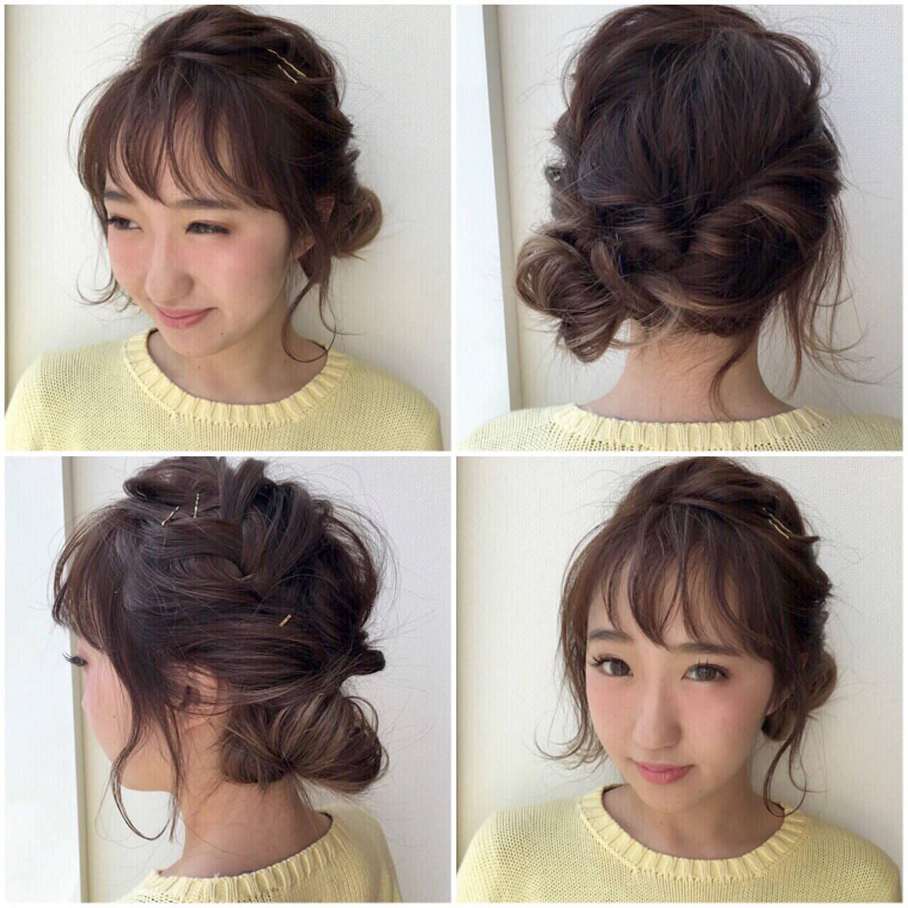 ヘアアレンジ くるりんぱ ショート 簡単ヘアアレンジヘアスタイルや髪型の写真・画像
