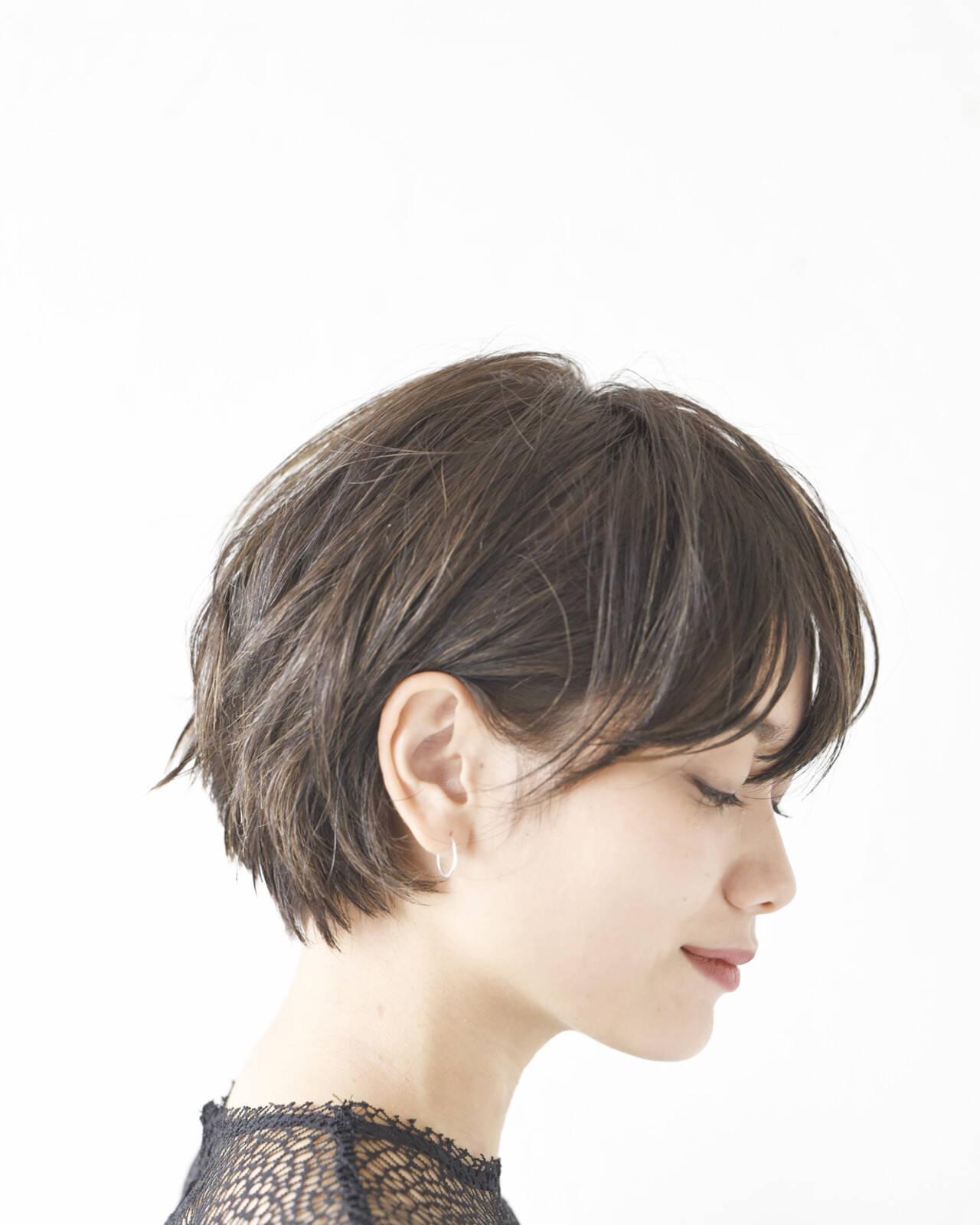 ショートボブ 黒髪 ショート コンサバヘアスタイルや髪型の写真・画像