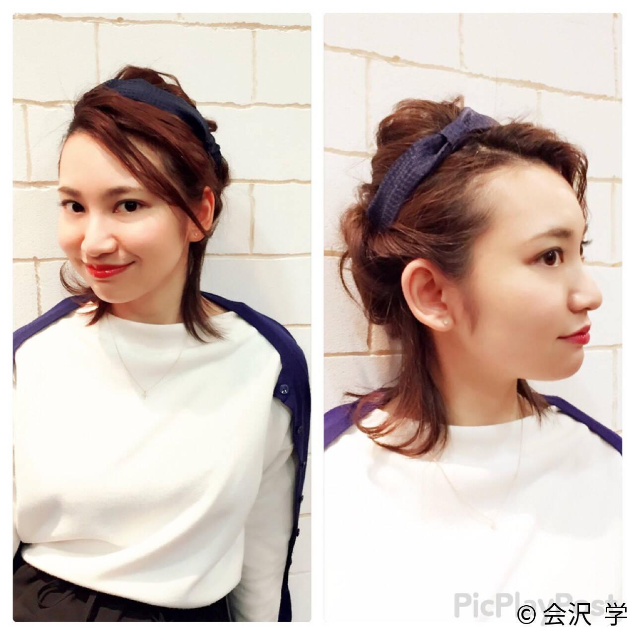 フェミニン ハーフアップ ヘアアレンジ ミディアムヘアスタイルや髪型の写真・画像