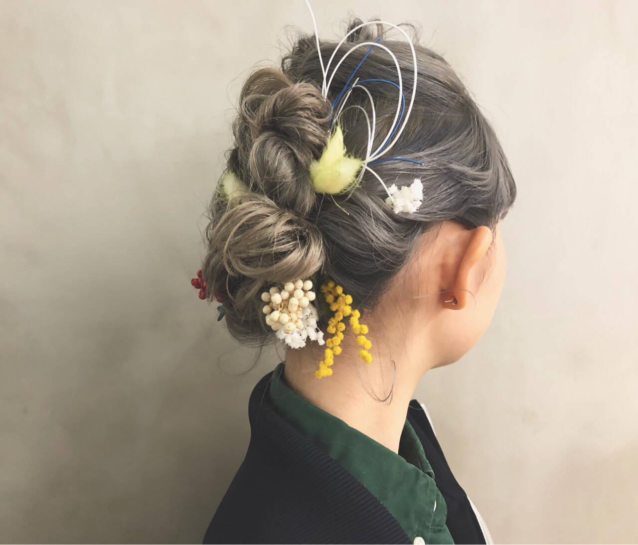 ミディアム ヘアアレンジ 謝恩会 簡単ヘアアレンジヘアスタイルや髪型の写真・画像