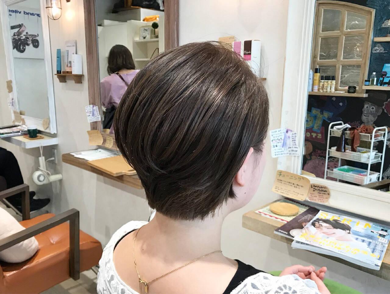 ボブ 透明感 オフィス ショートボブヘアスタイルや髪型の写真・画像