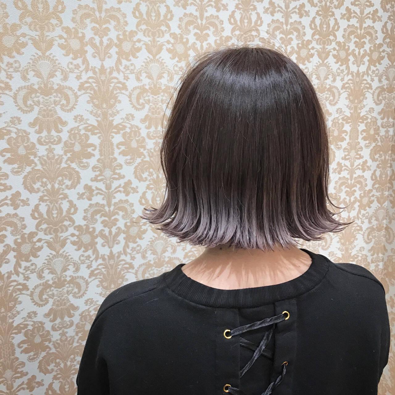 ラベンダーアッシュ ボブ 外国人風 ニュアンスヘアスタイルや髪型の写真・画像