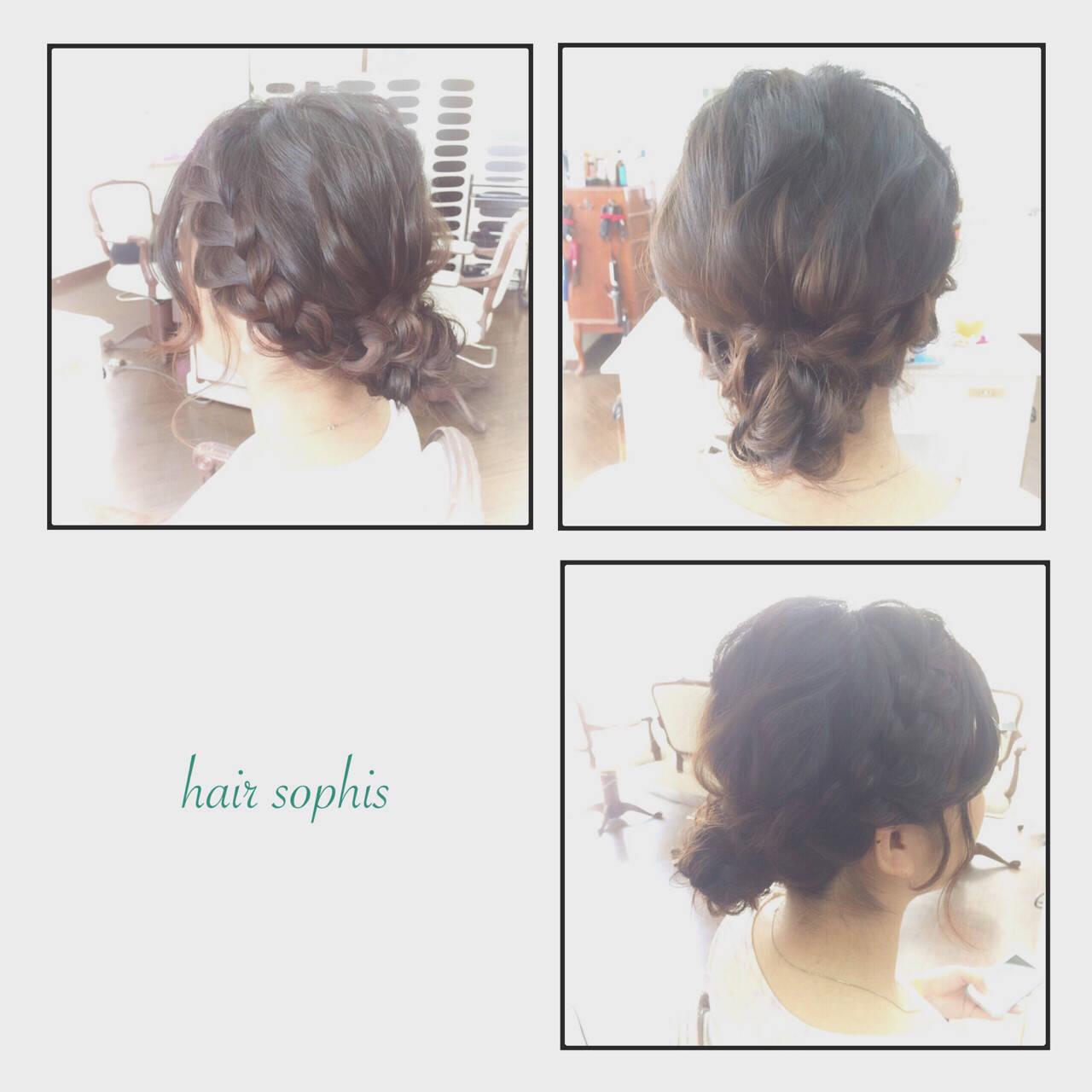 編み込み ショート ボブ ゆるふわヘアスタイルや髪型の写真・画像