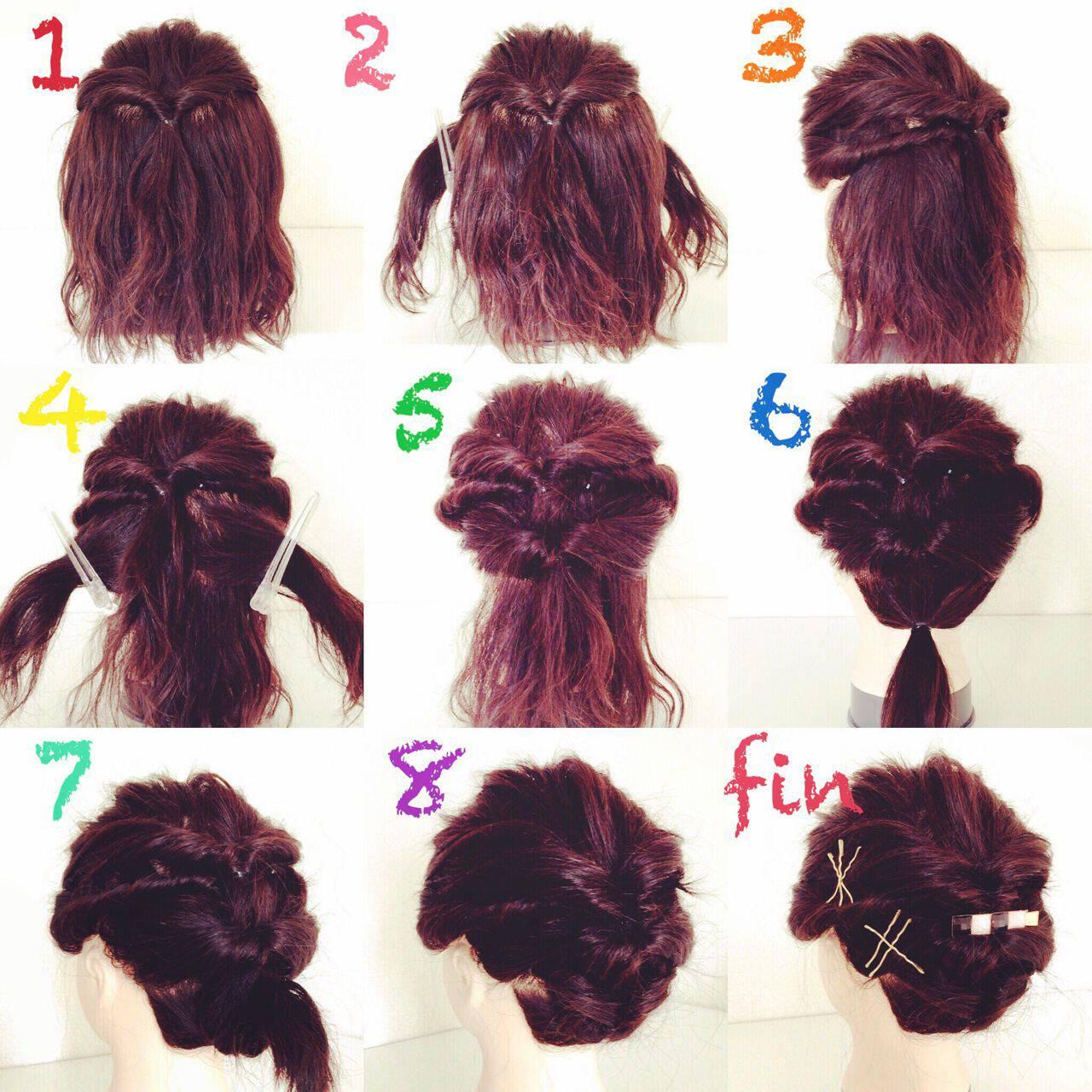 ガーリー ミディアム アップスタイル くるりんぱヘアスタイルや髪型の写真・画像