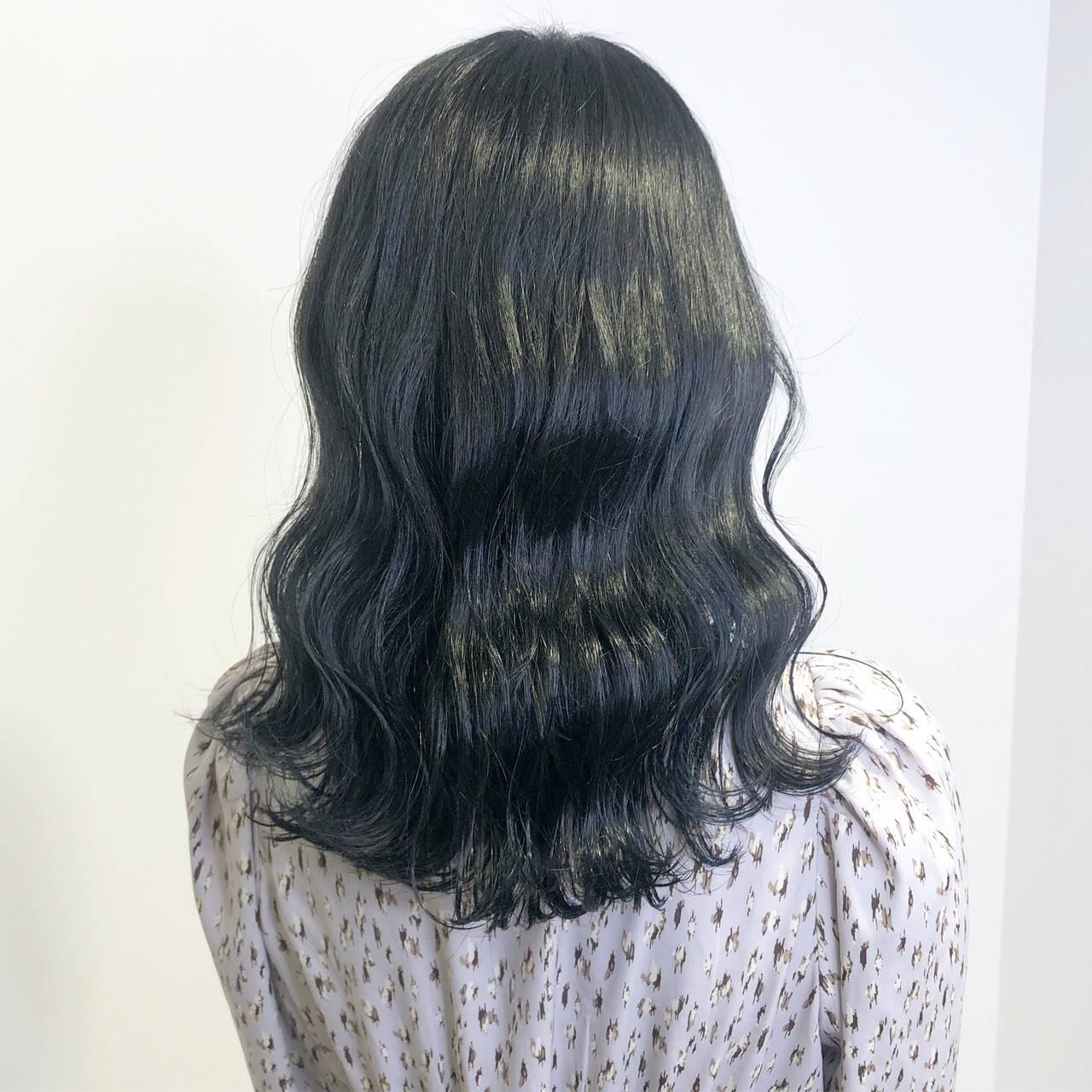 暗髪女子 ナチュラル ブルーブラック ネイビーブルーヘアスタイルや髪型の写真・画像