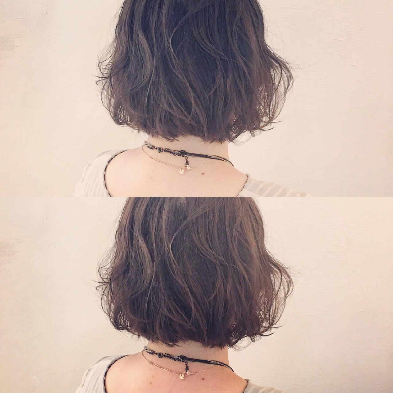 ゆるふわ ボブ パーマ ラフヘアスタイルや髪型の写真・画像