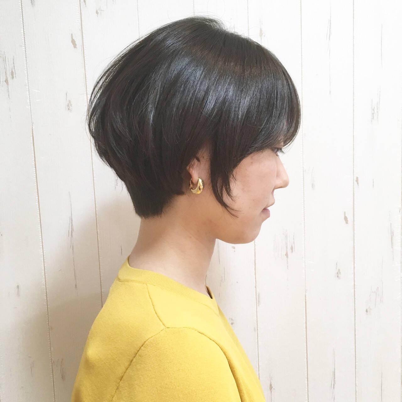 小顔 ナチュラル デート ボブヘアスタイルや髪型の写真・画像