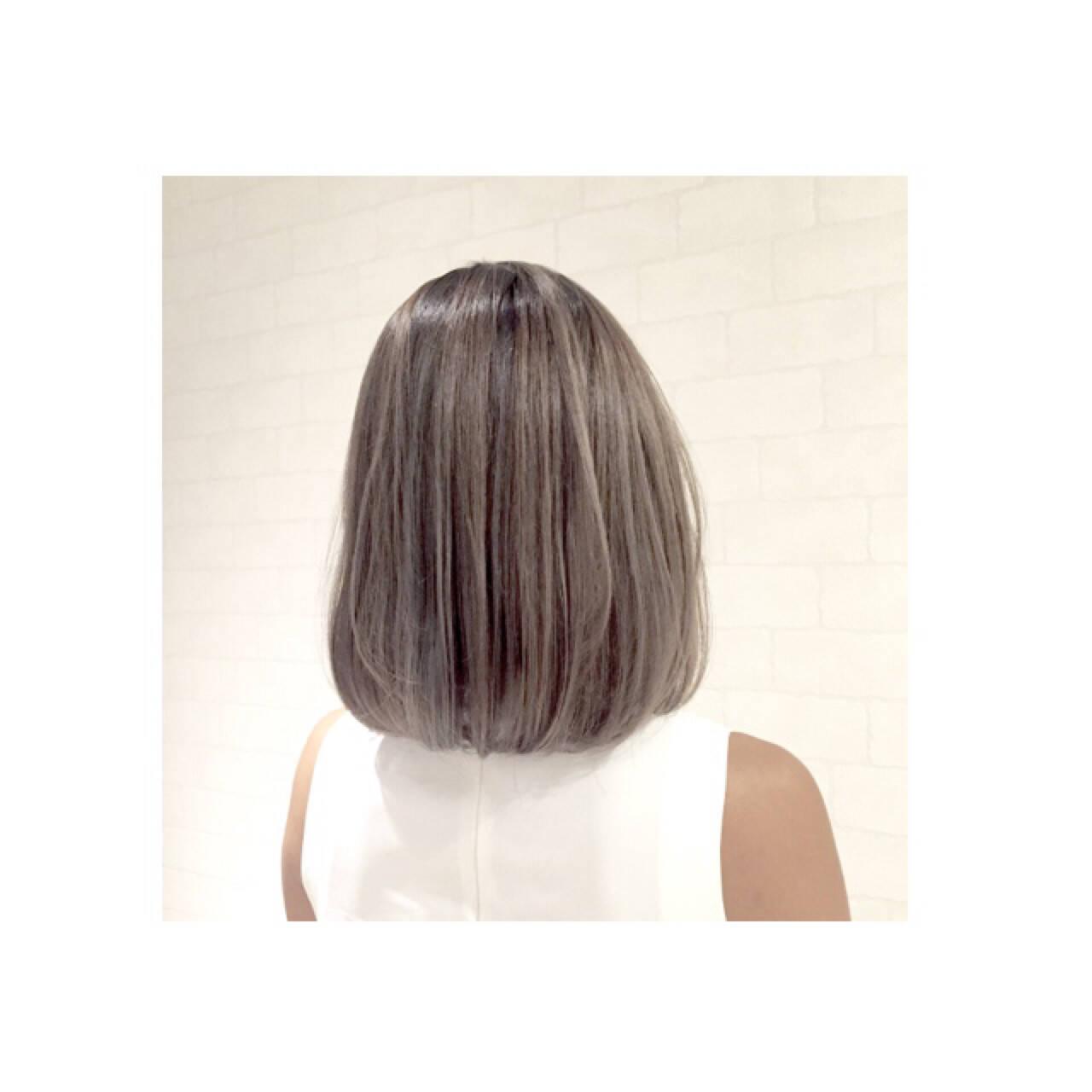 渋谷系 ボブ ハイライト ストリートヘアスタイルや髪型の写真・画像