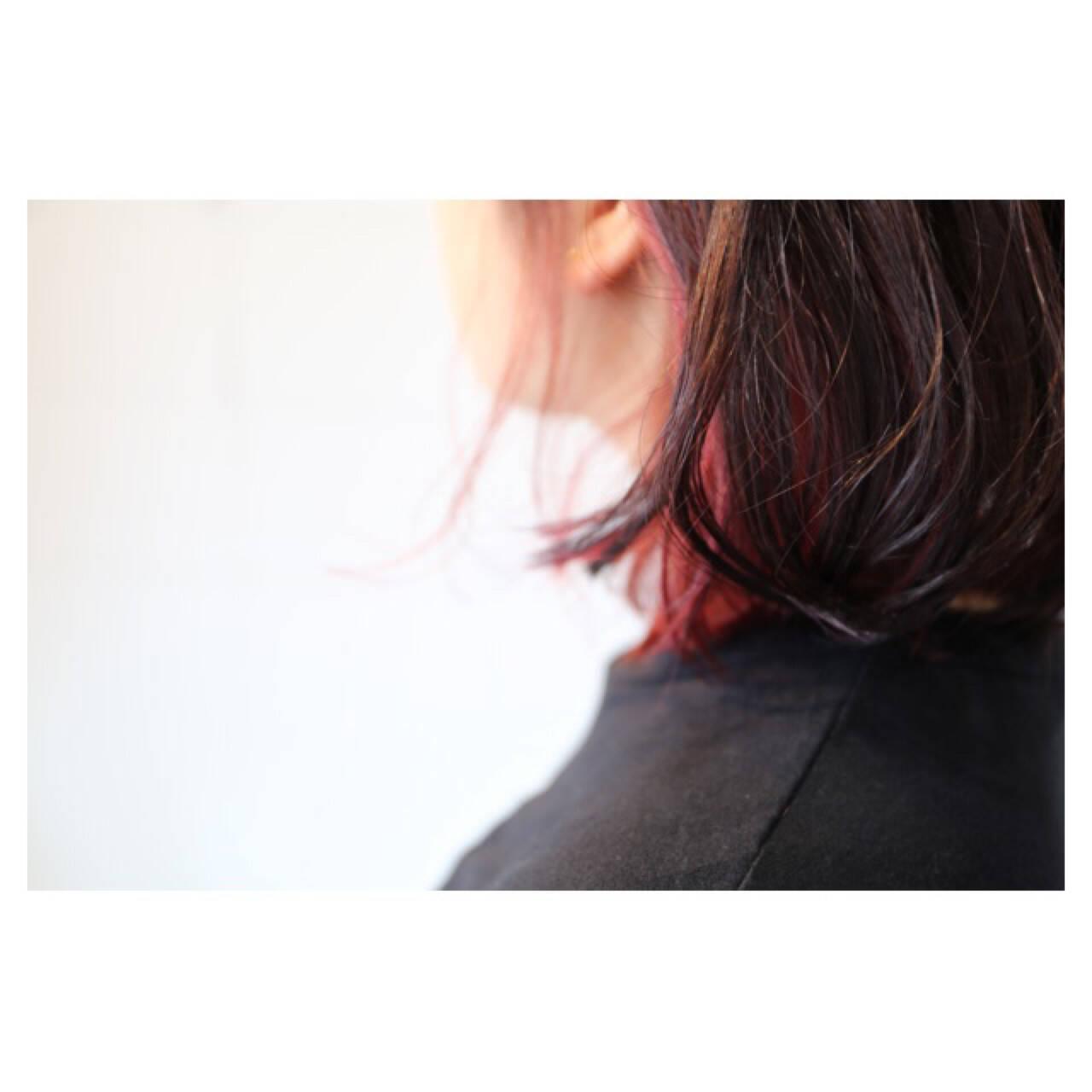 個性的 インナーカラー ボブ ピンクヘアスタイルや髪型の写真・画像