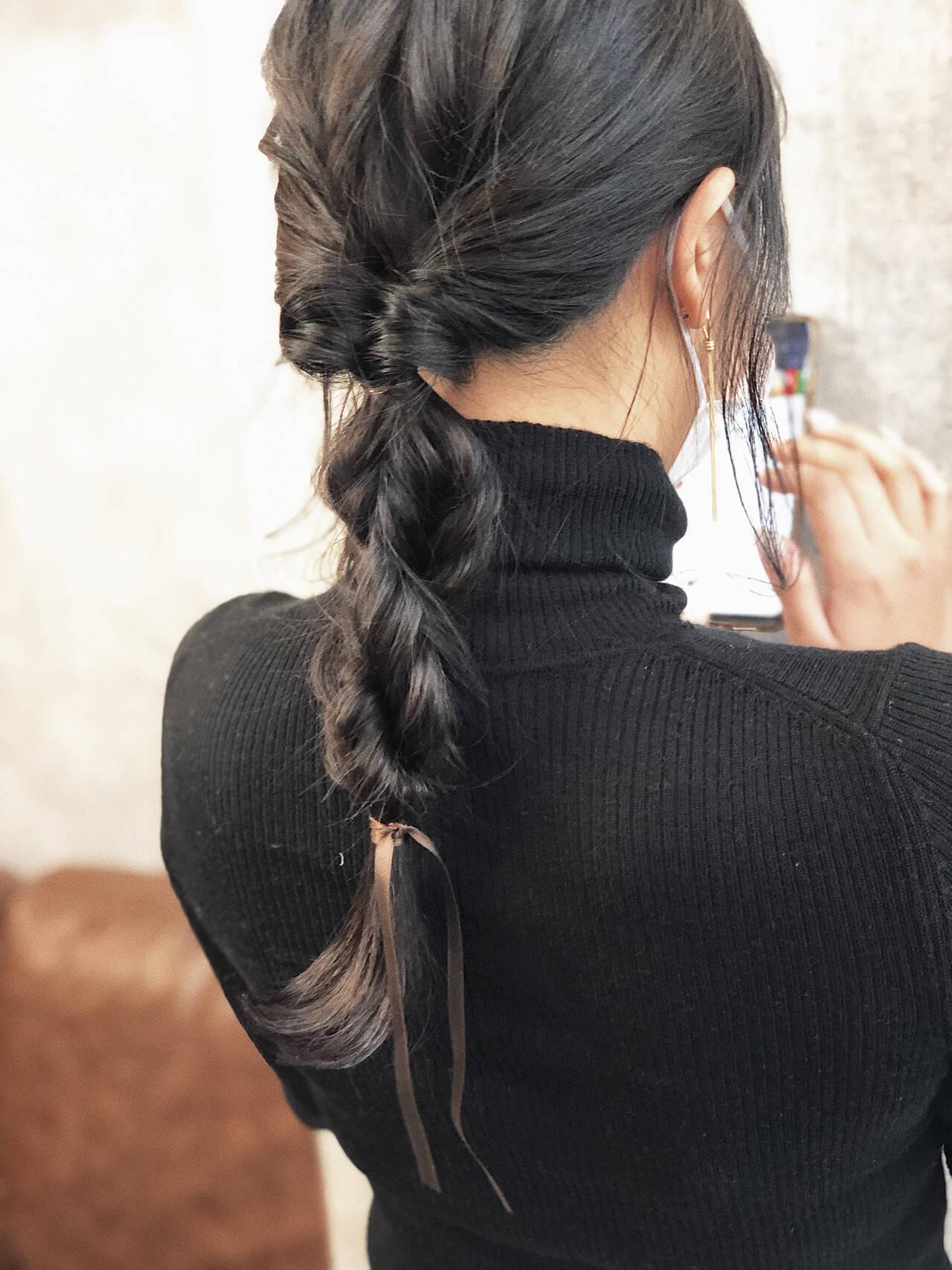 アンニュイほつれヘア ヘアアレンジ 編みおろしヘア ロングヘアスタイルや髪型の写真・画像
