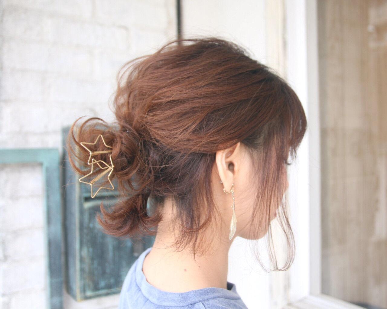 ヘアアレンジ デート ショート お団子ヘアスタイルや髪型の写真・画像