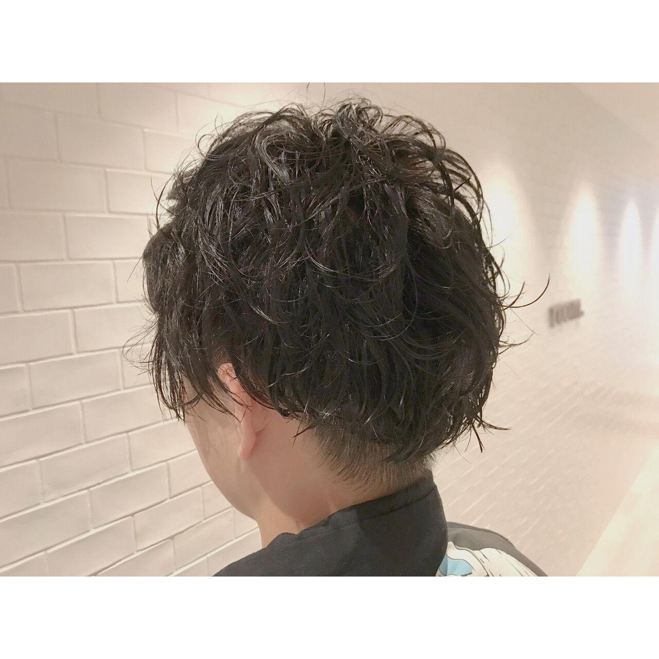 メンズカット ショート モード メンズパーマヘアスタイルや髪型の写真・画像
