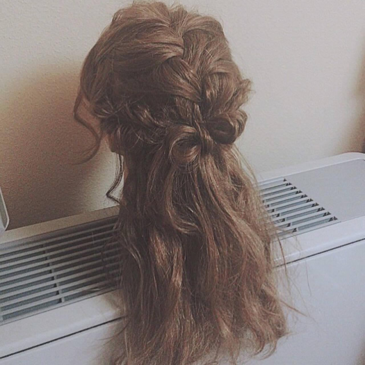 ハーフアップ ゆるふわ ロング ショートヘアスタイルや髪型の写真・画像