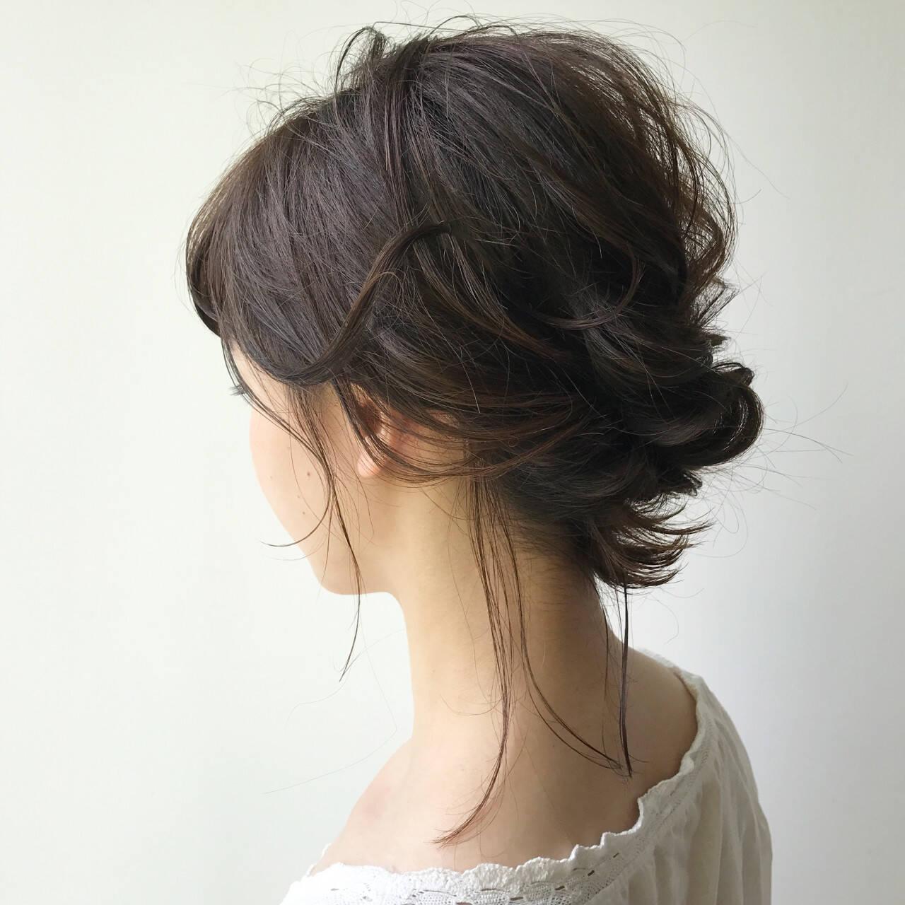 ミディアム 色気 結婚式 夏ヘアスタイルや髪型の写真・画像
