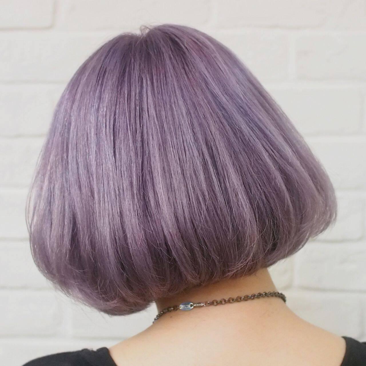 ラベンダーアッシュ ハイトーン ストリート パープルヘアスタイルや髪型の写真・画像