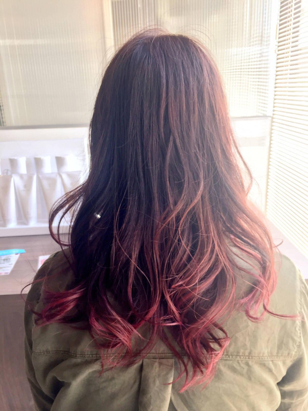 ピンク グラデーションカラー モード ブラウンヘアスタイルや髪型の写真・画像