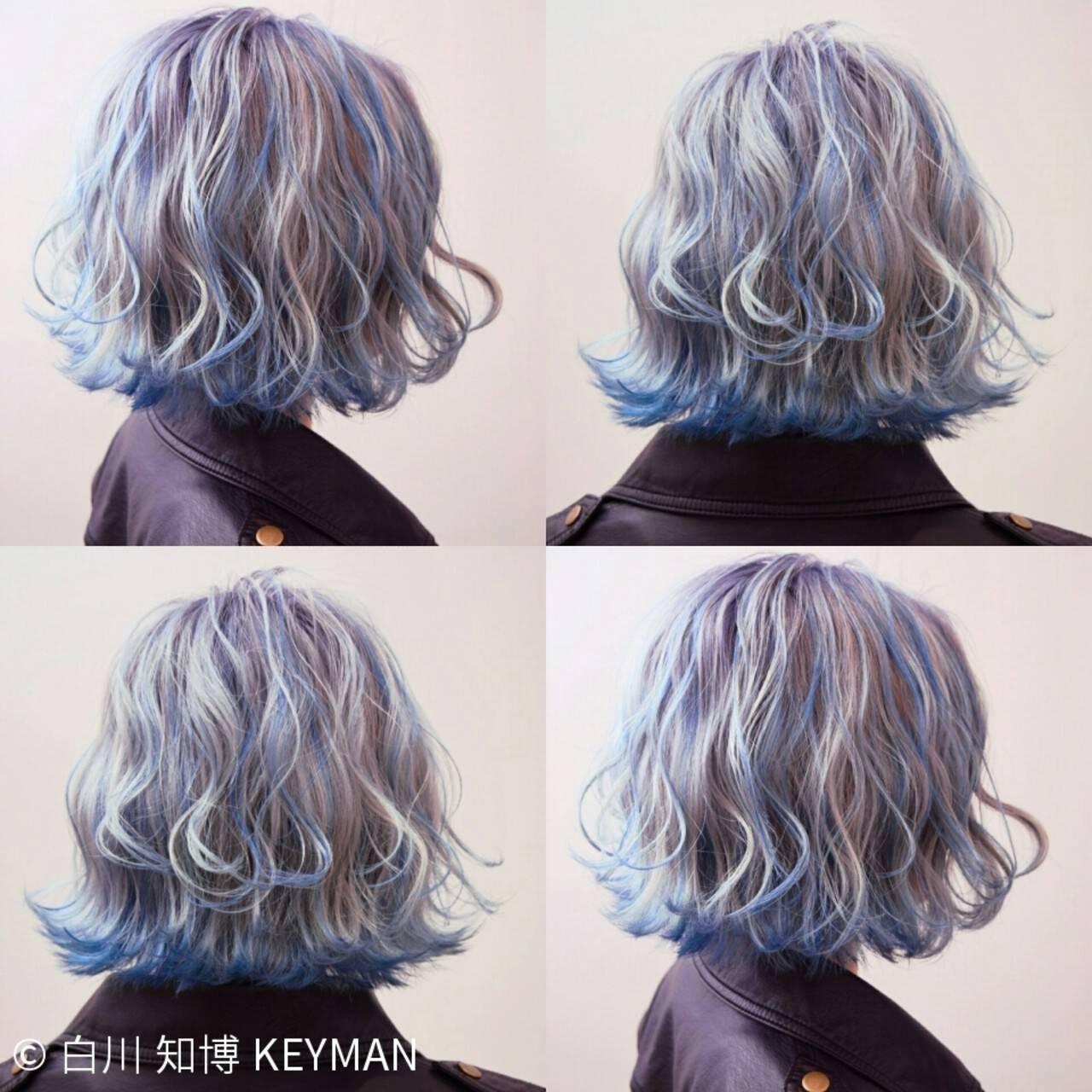 ストリート グラデーションカラー カラーバター ボブヘアスタイルや髪型の写真・画像