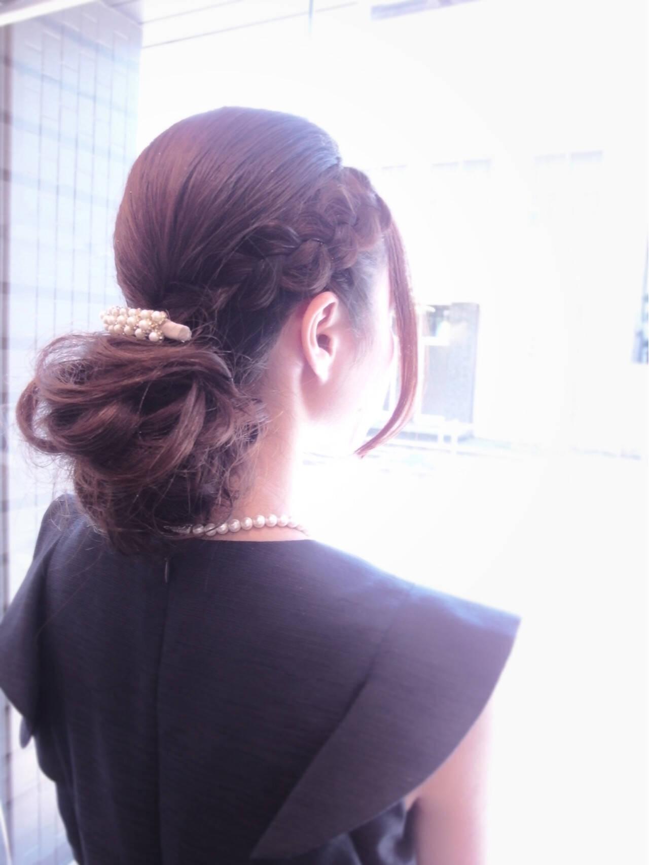 編み込み フェミニン ロング 大人女子ヘアスタイルや髪型の写真・画像