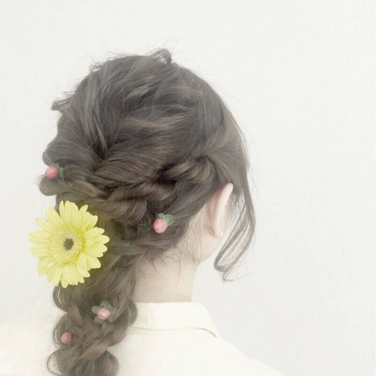 編み込み モテ髪 ヘアアレンジ 愛されヘアスタイルや髪型の写真・画像