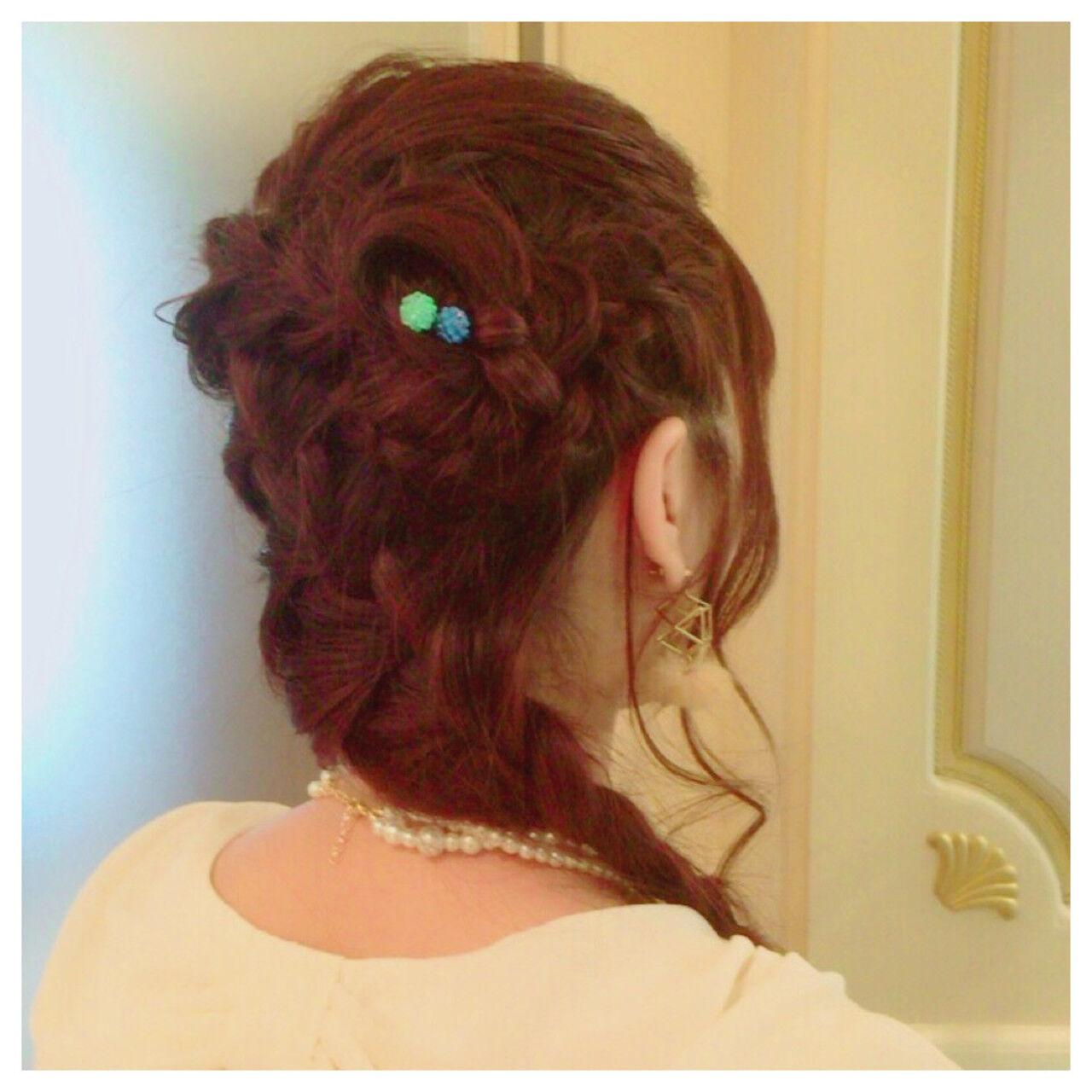 ヘアアレンジ 結婚式 編み込み ディズニーヘアスタイルや髪型の写真・画像