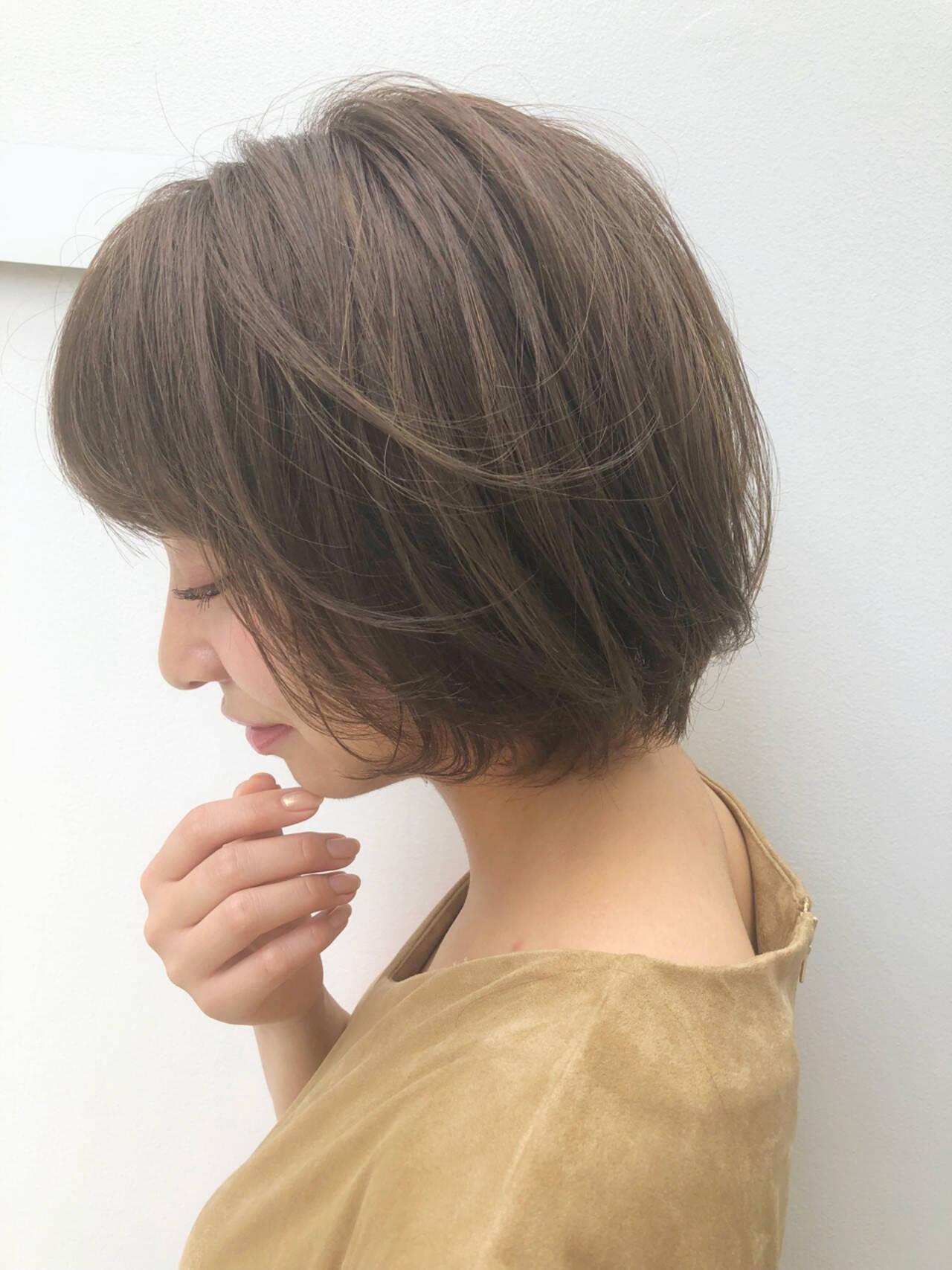 透明感 ボブ デート オフィスヘアスタイルや髪型の写真・画像