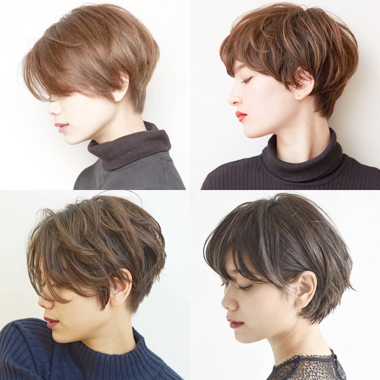 黒髪 ショート パーマ オフィスヘアスタイルや髪型の写真・画像