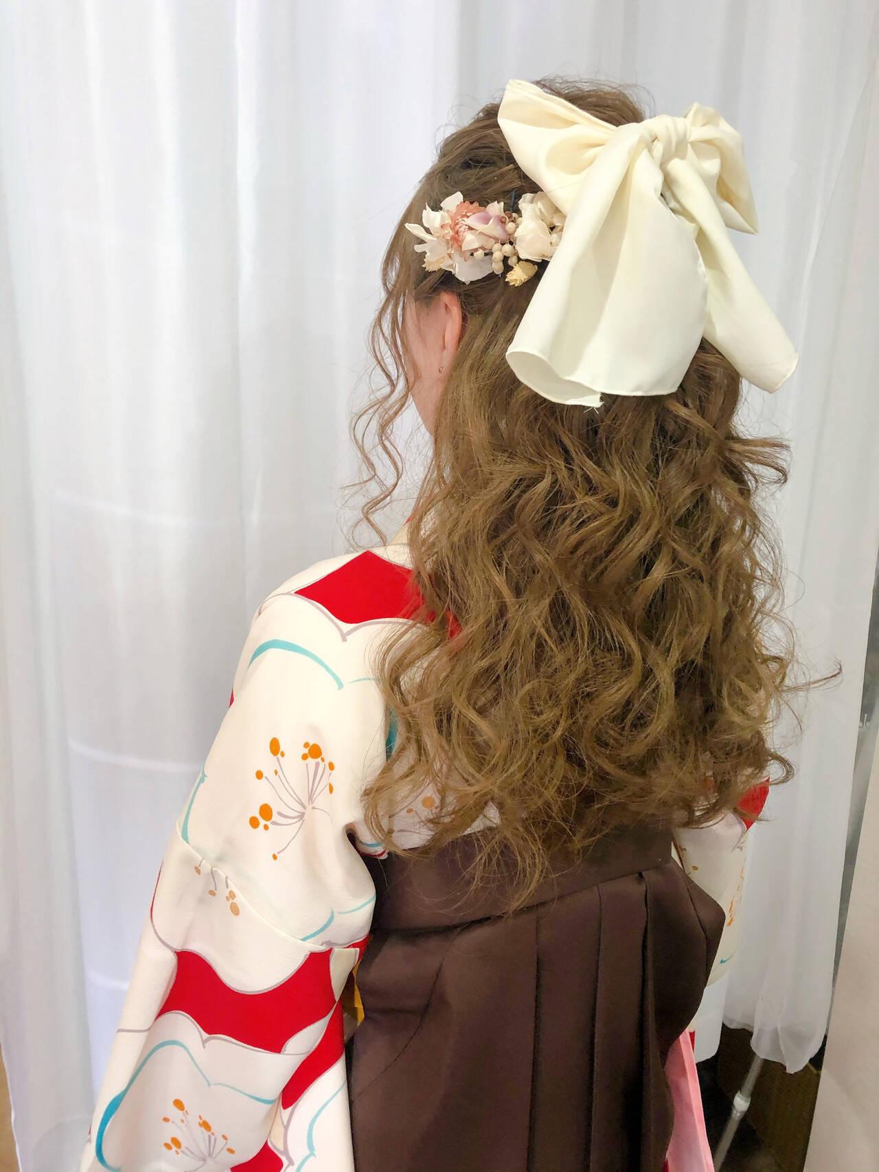 ハーフアップ 卒業式 袴 ヘアアレンジヘアスタイルや髪型の写真・画像