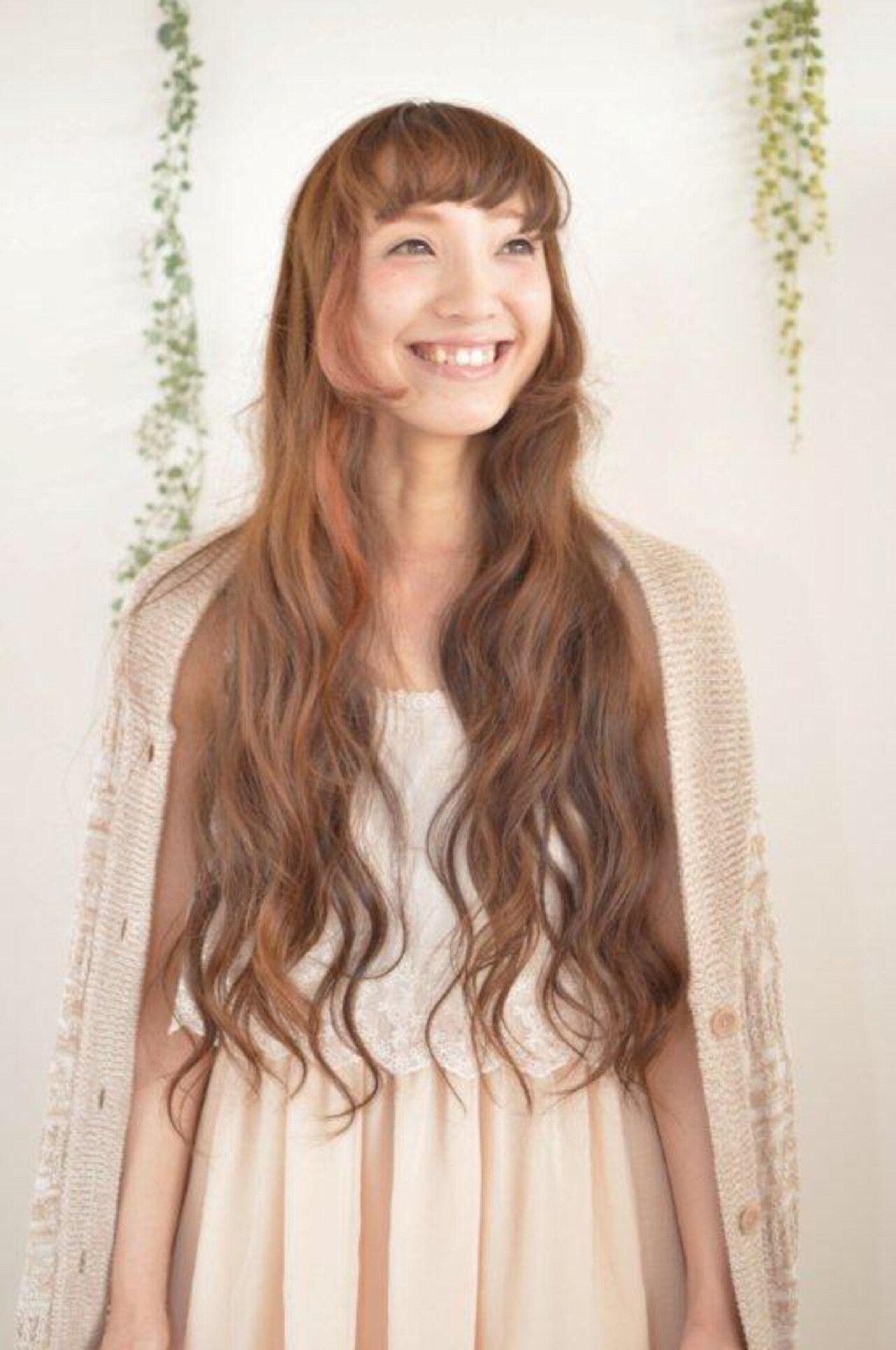 ロング 姫カット エクステ ガーリーヘアスタイルや髪型の写真・画像