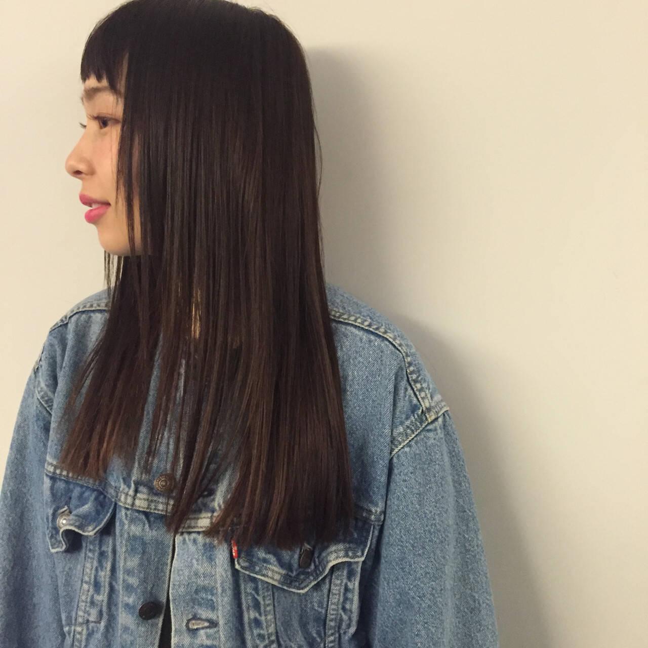 前髪あり 暗髪 ハイライト ロングヘアスタイルや髪型の写真・画像