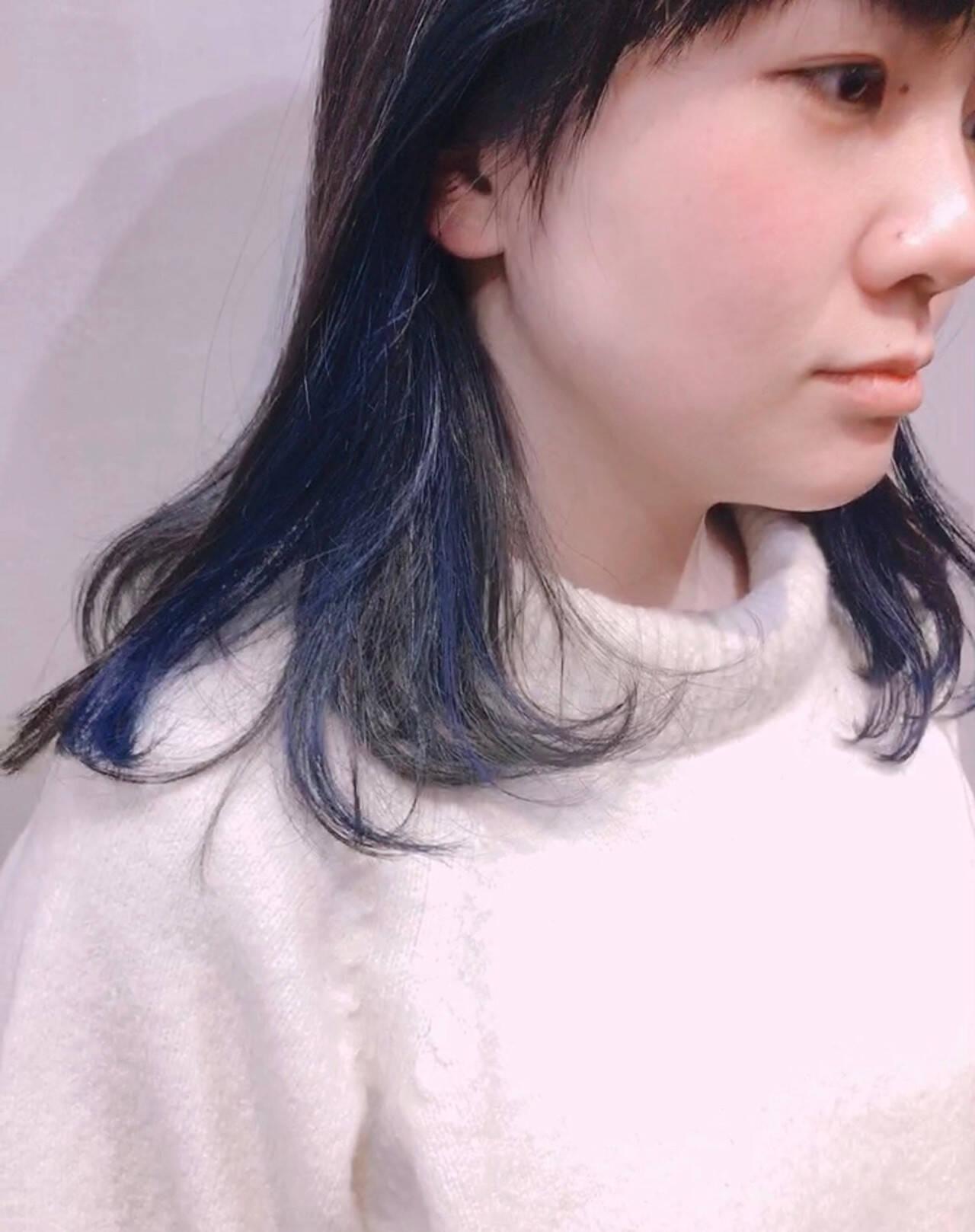 ミルクティーグレージュ ブルージュ ブルー ストリートヘアスタイルや髪型の写真・画像