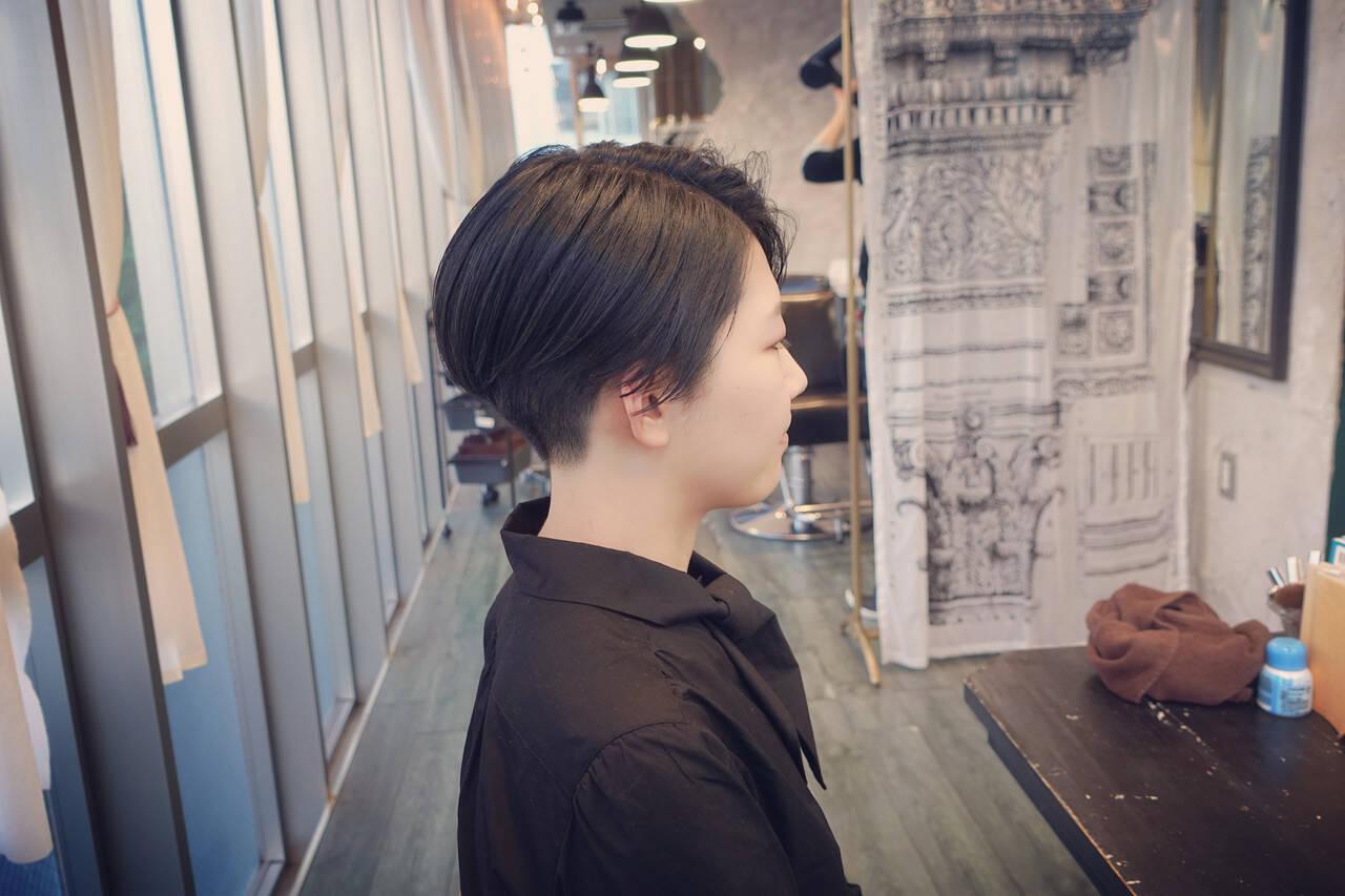 切りっぱなしボブ ベリーショート ショートヘア ボブヘアスタイルや髪型の写真・画像