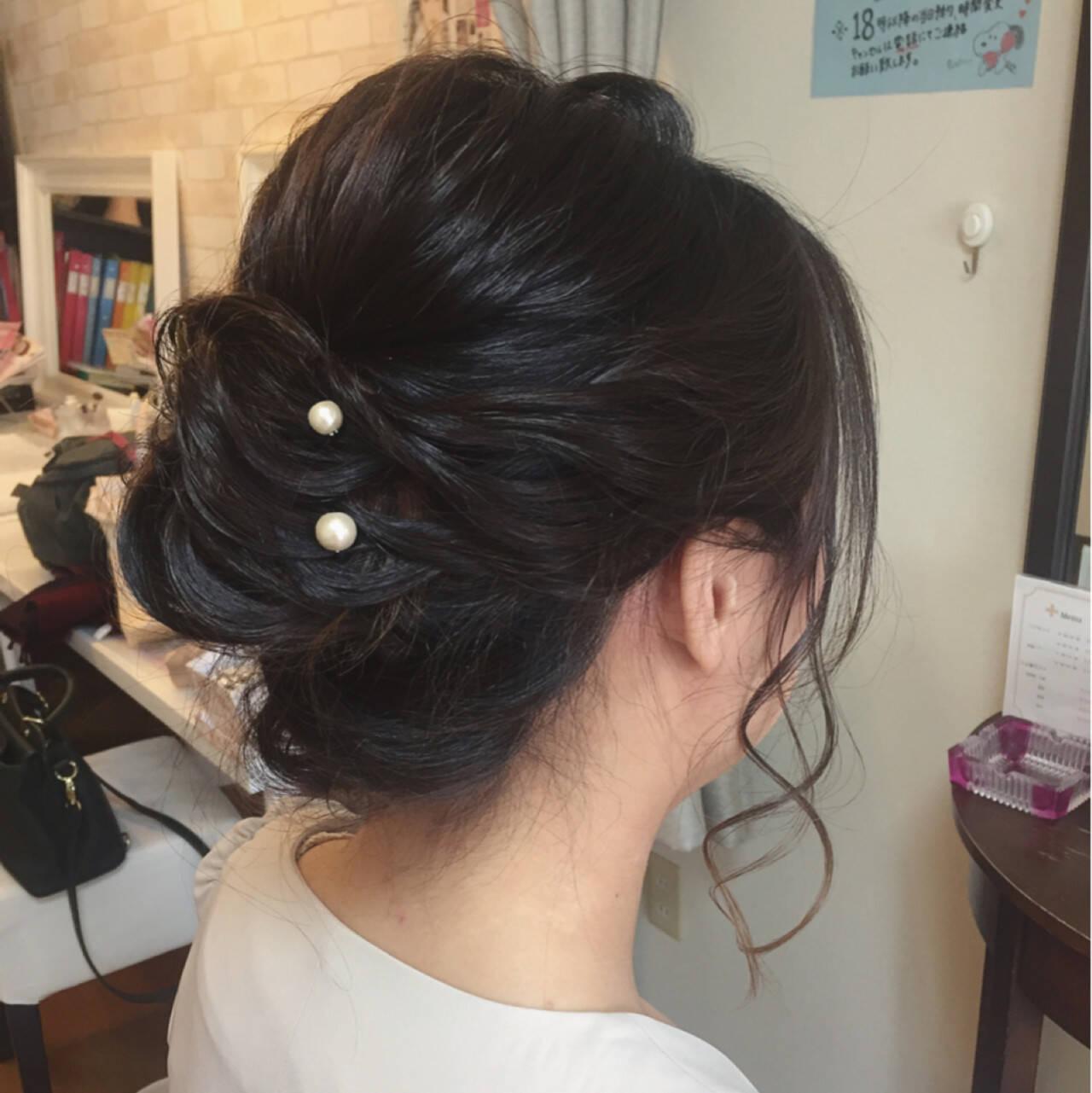 黒髪 フェミニン ロープ編み 結婚式ヘアスタイルや髪型の写真・画像